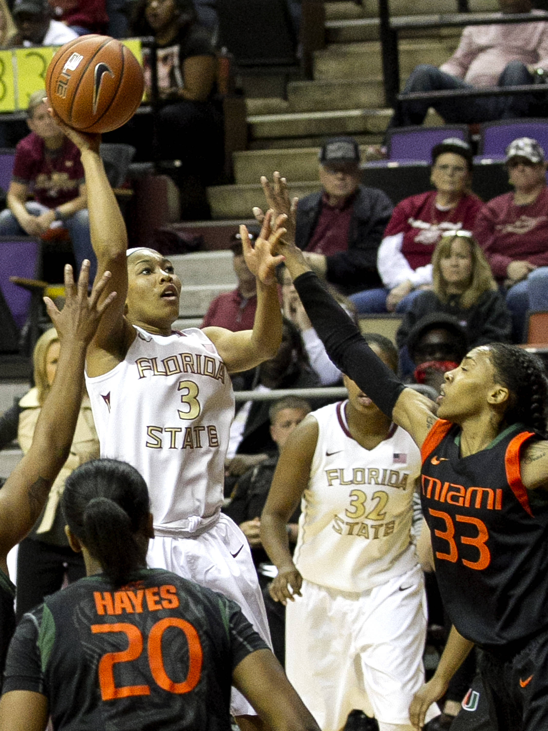 Emaih Bingley (3) with a short jumper in the paint, FSU vs Miami, 2-16-14, (Photo's by Steve Musco)