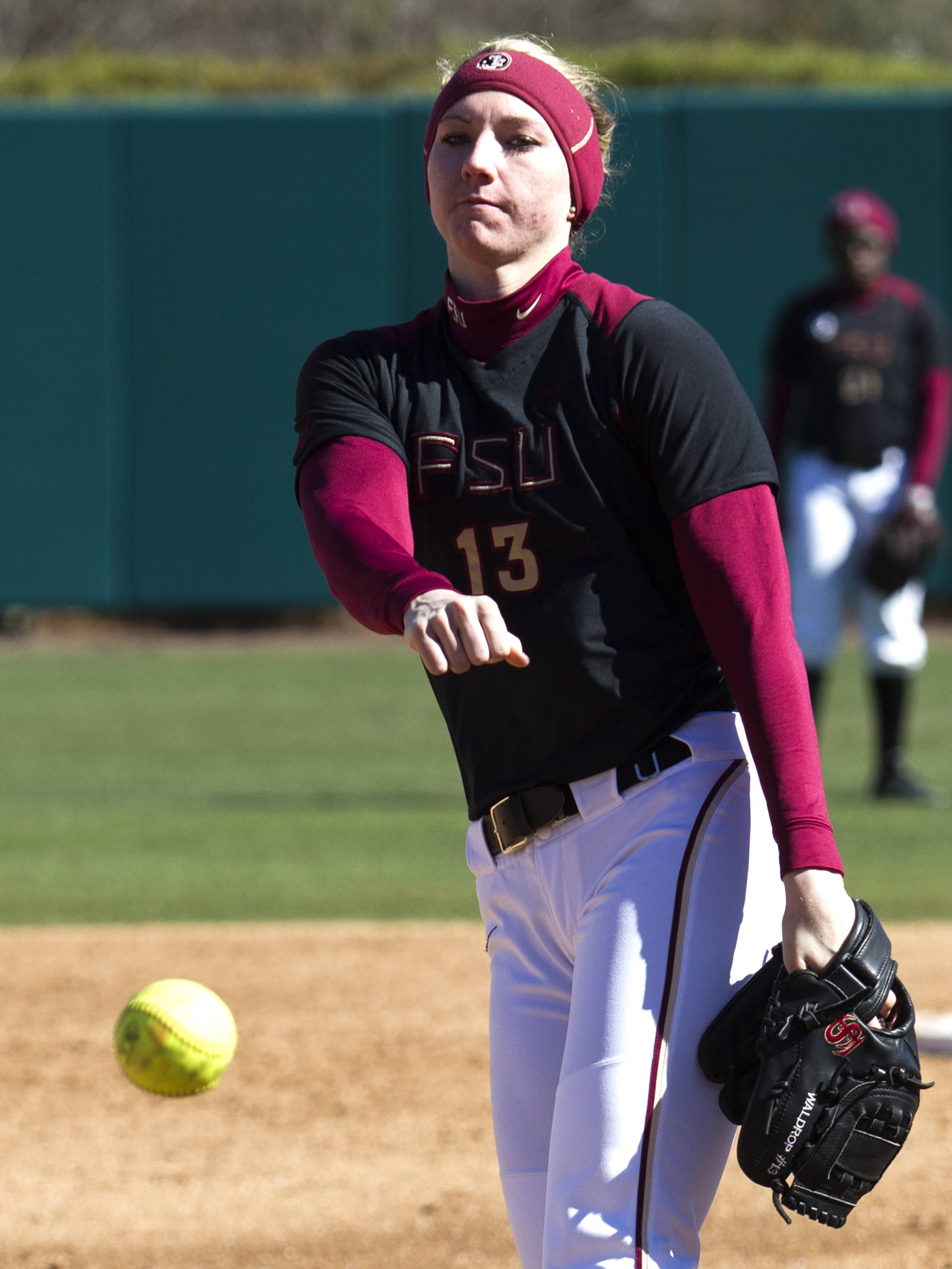 lacey Waldrop (13), FSU vs Tulsa, 02/17/13. (Photo by Steve Musco)