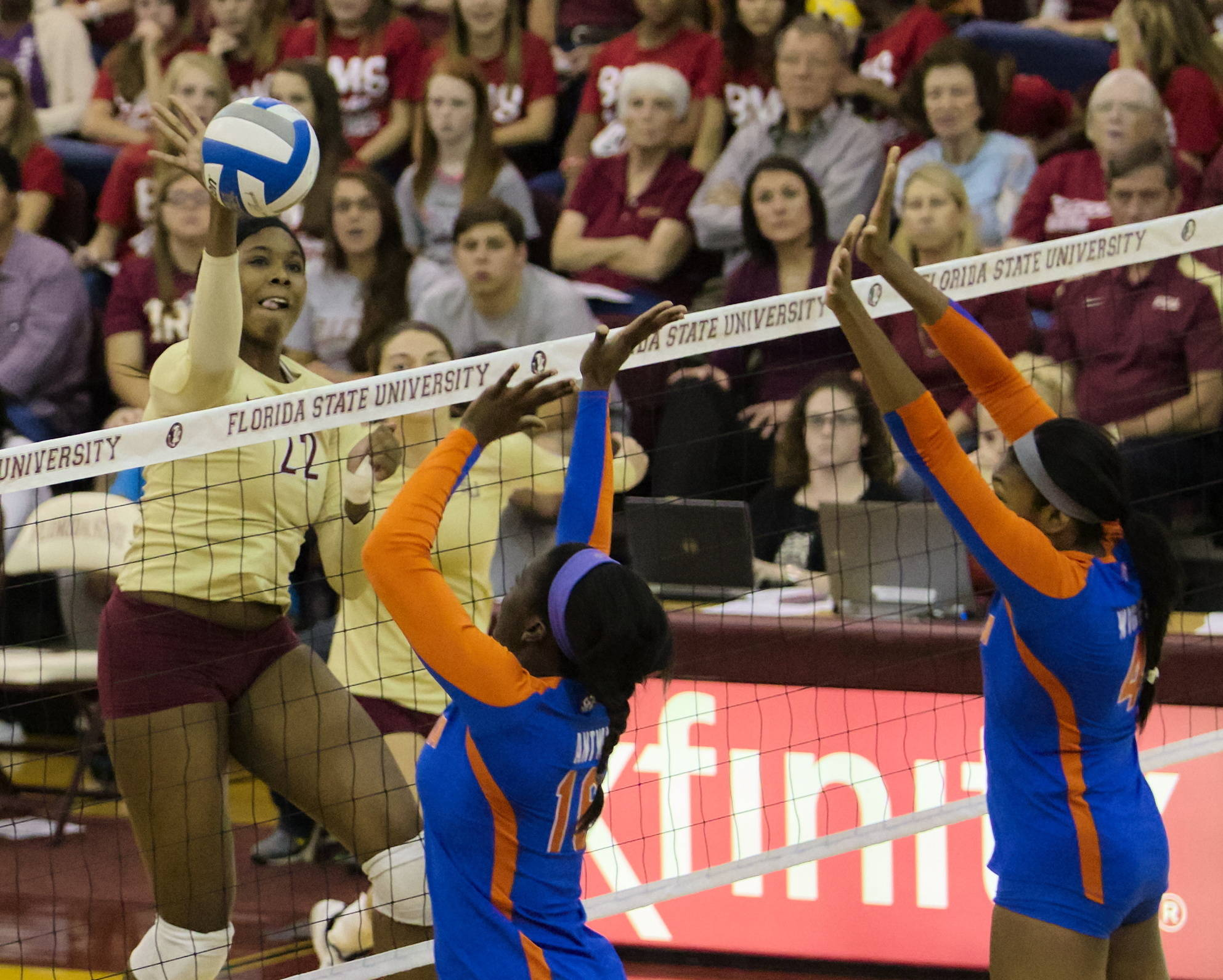Sareea Freeman (22), FSU vs Florida, 10/24/12 (Photo by Steve Musco)