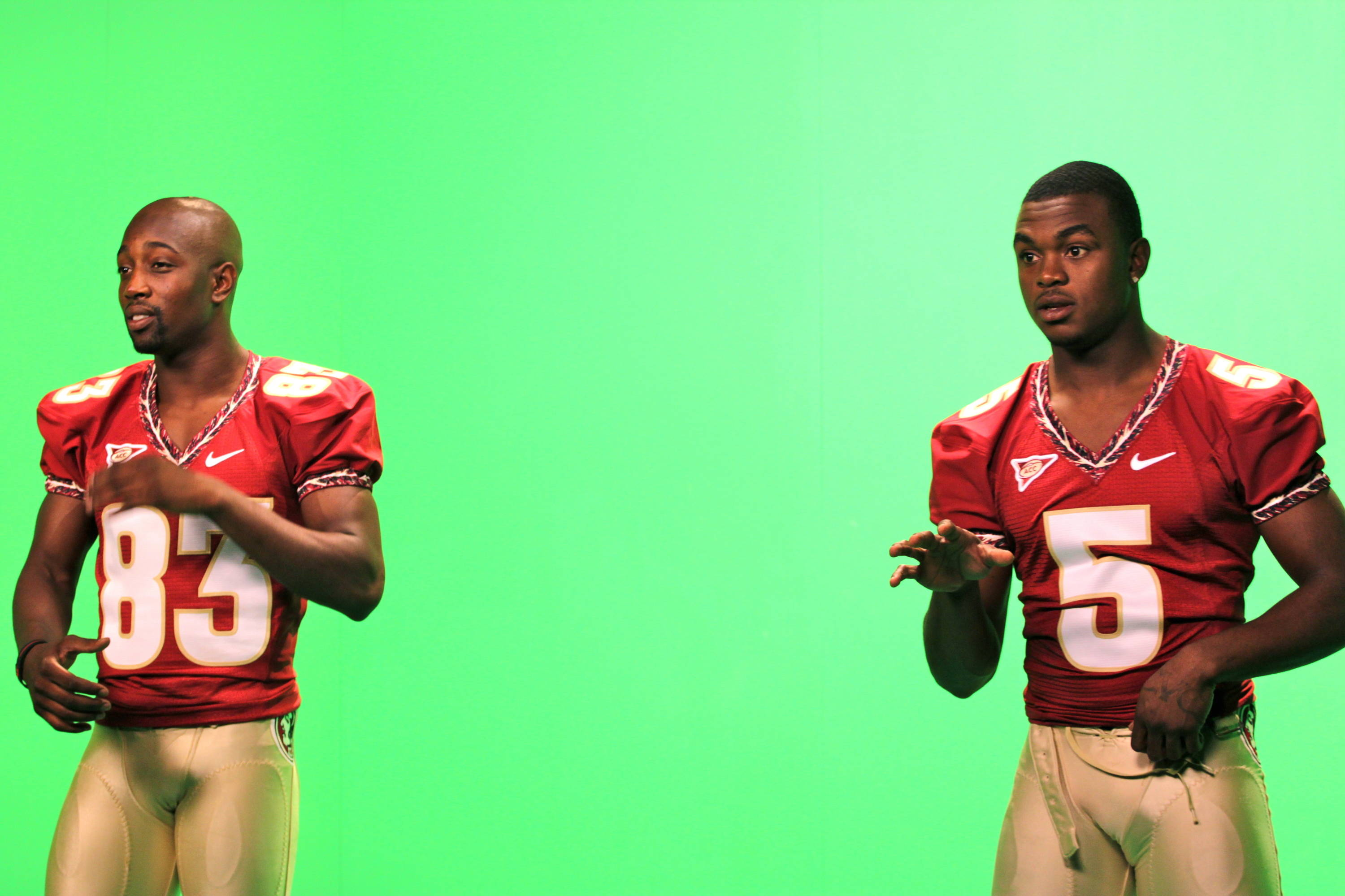 Bert Reed and Greg Reid being shot on the green screen in Seminole Productions.