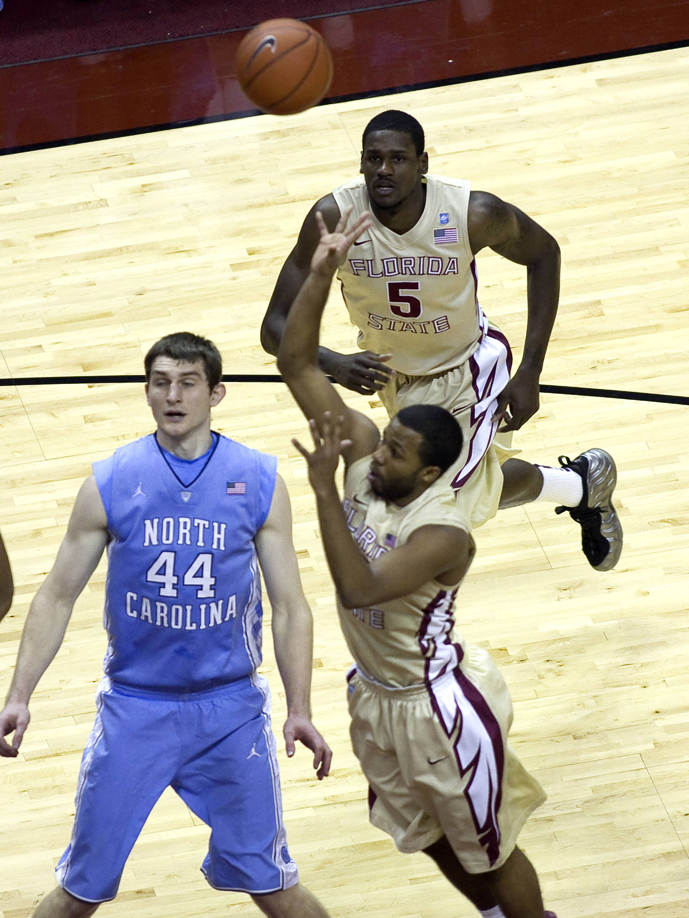 Bernard James (5), Jeff Peterson (12), FSU vs NC,  01/14/2012