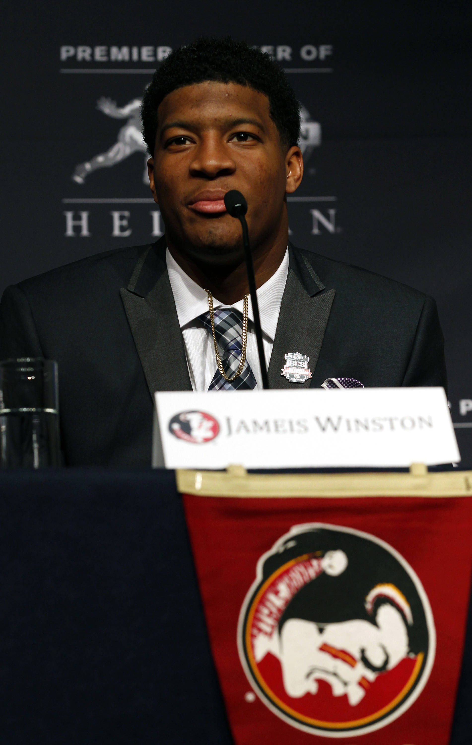 Dec 14, 2013; New York, NY, USA; Seminoles quarterback Jameis Winston during a press conference before the announcement of the 2013 Heisman Trophy winner. Adam Hunger-USA TODAY Sports