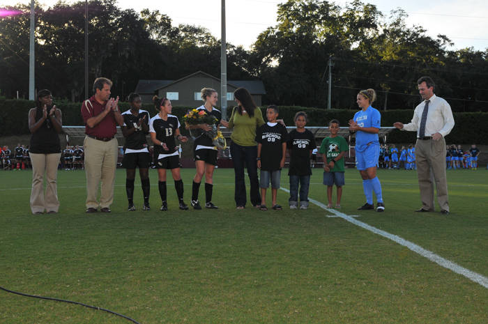 Pre-game ceremony honoring the family of the late Charlotte Moran