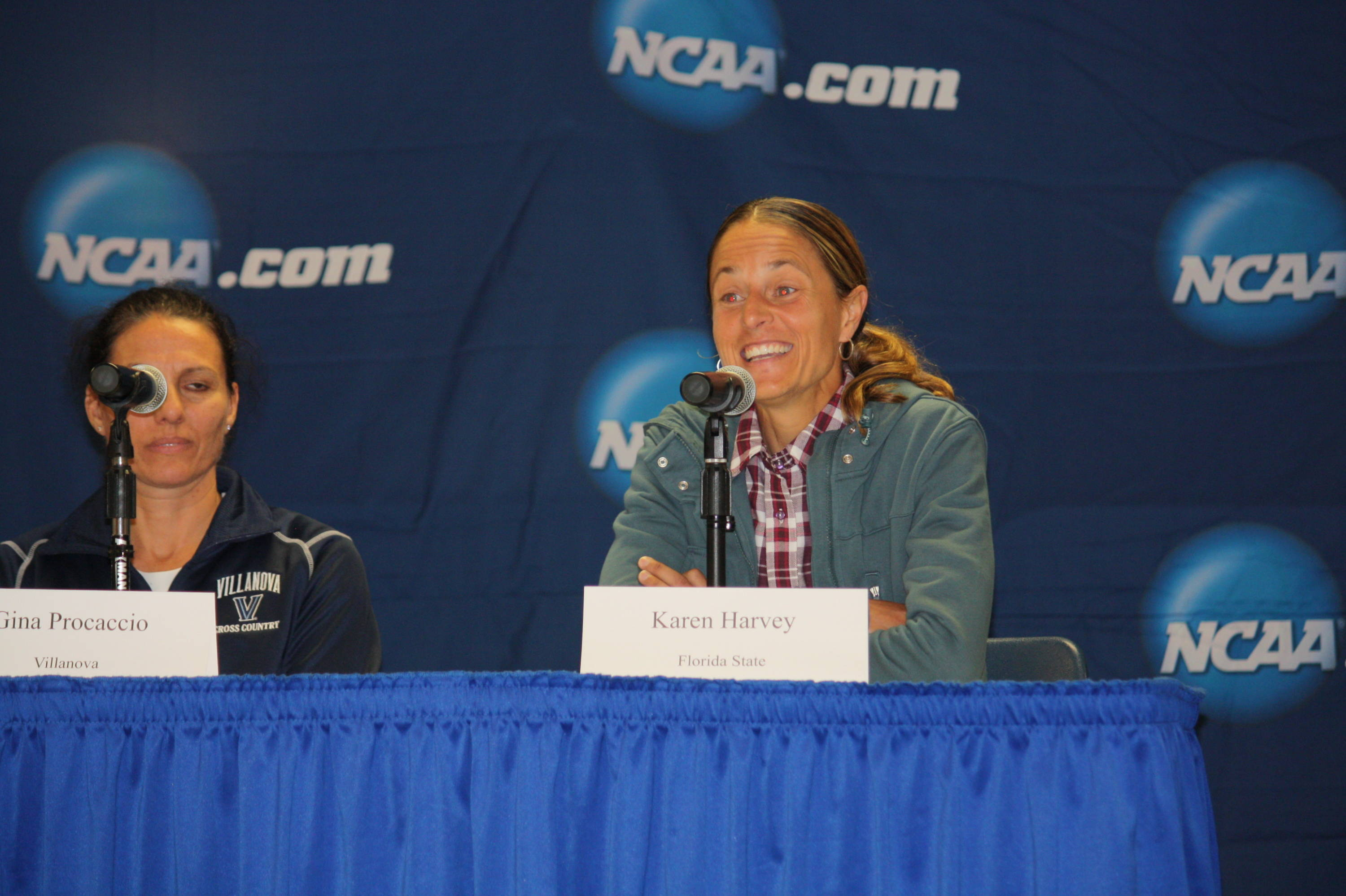 Florida State coach Karen Harvey answers a question at Sunday's press conference.