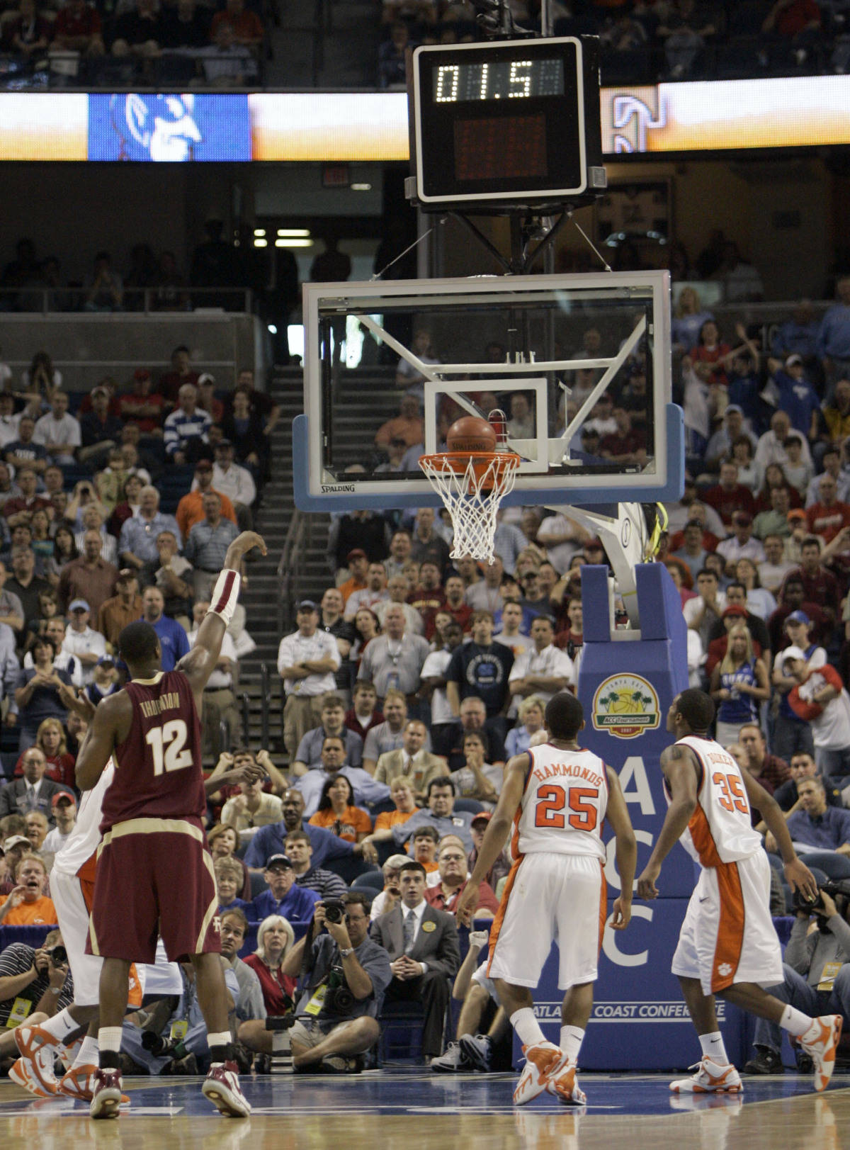 Florida State's Al Thornton (12) sinks the game-winning free throw to beat Clemson 67-66 in a first round game of the Men's Atlantic Coast Conference basketball tournament in Tampa, Fla., Thursday, March 8, 2007. (AP Photo/John Raoux)