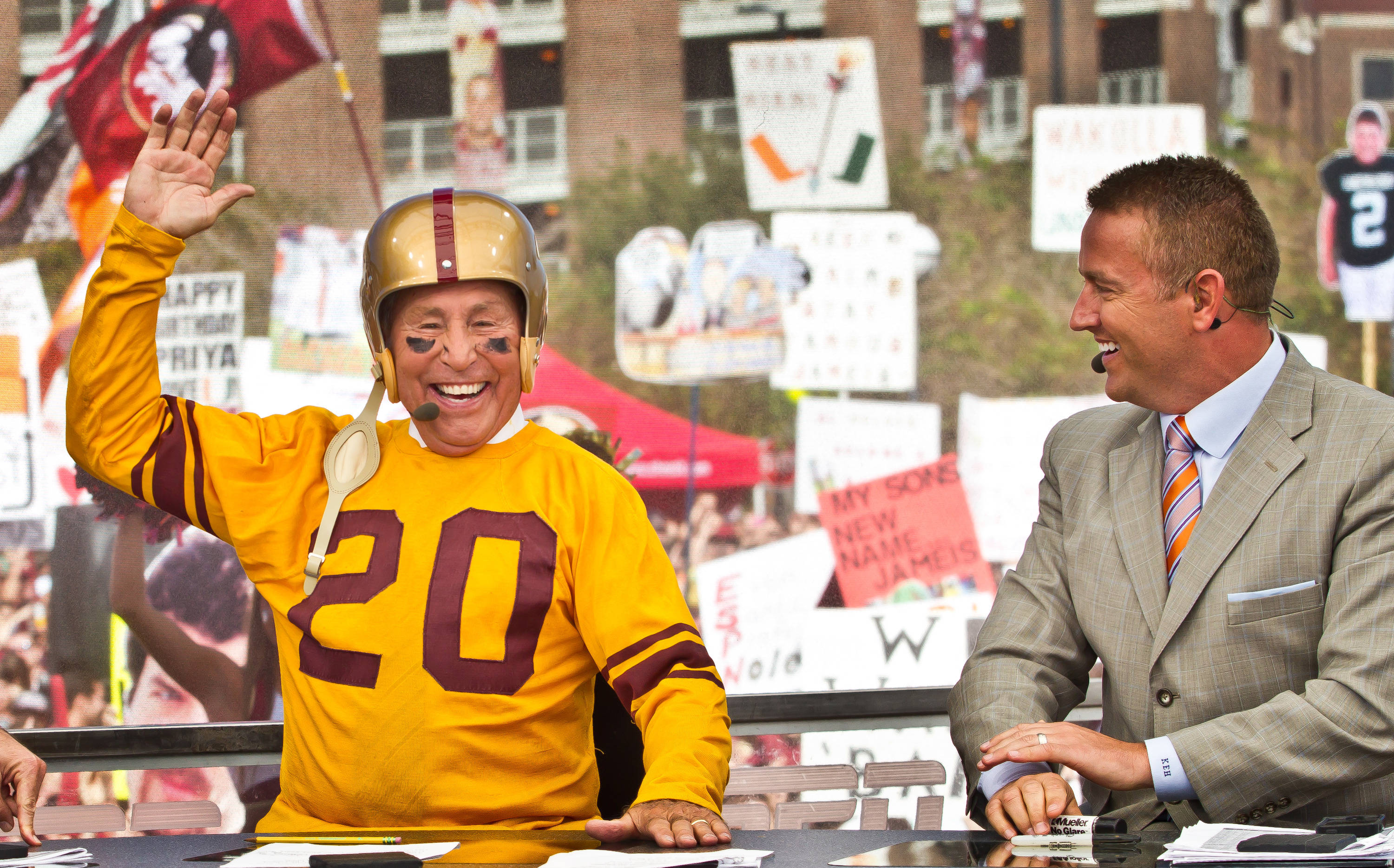 Lee Corso picks FSU to beat Miami on the College Game Day show.
