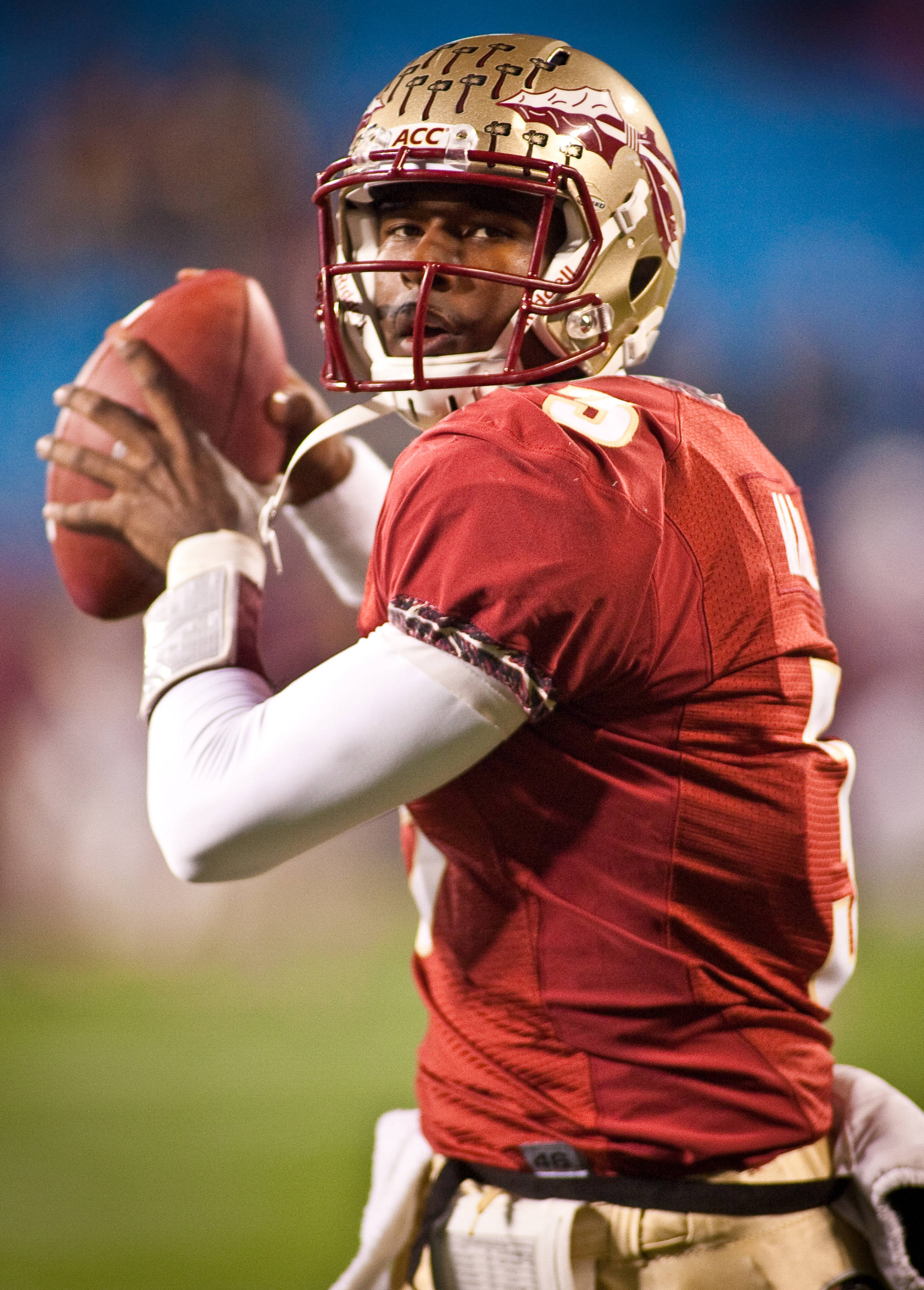 EJ Manuel warms up before the ACC Championship Game.