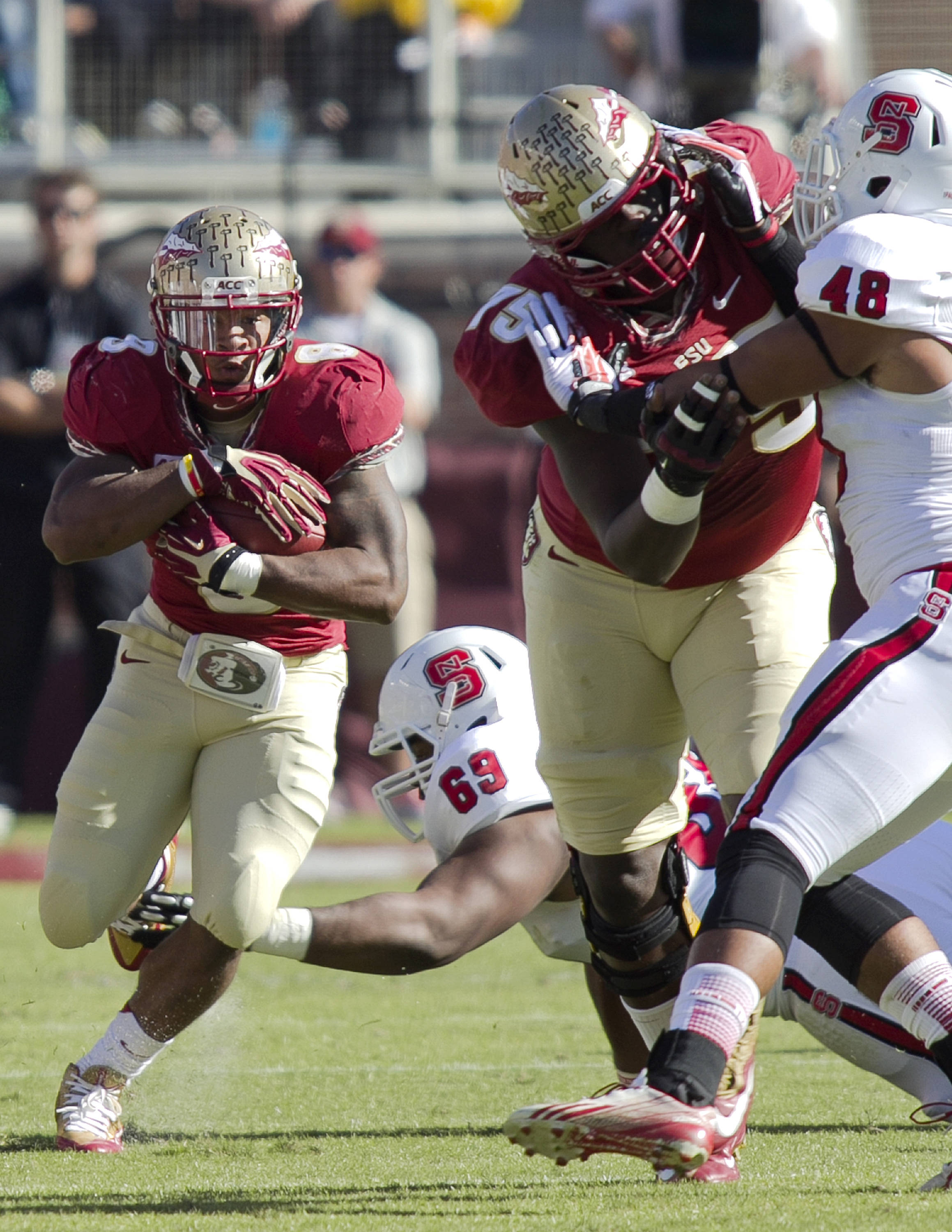 Devonta Freeman (8), FSU vs NC State,  10-26-13, (Photo by Steve Musco)