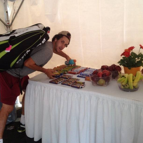 From Anderson Reed: Noles raiding the players tent for snacks and candy. #nutritionalpurposes