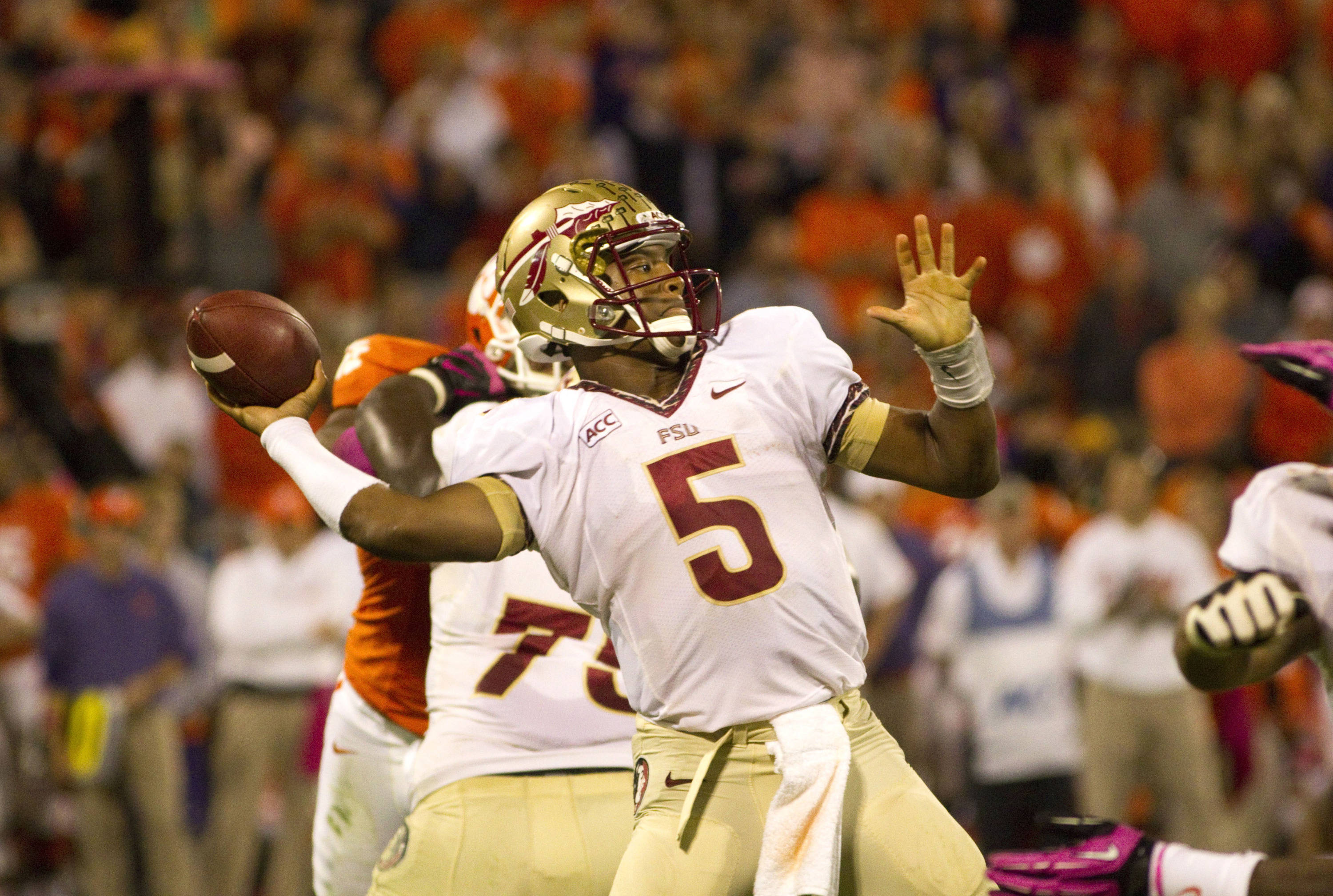 Florida State Seminoles quarterback Jameis Winston (5) throws the ball during the second half against the Clemson Tigers at Clemson Memorial Stadium. Seminoles won 51-14. (Joshua S. Kelly-USA TODAY Sports)