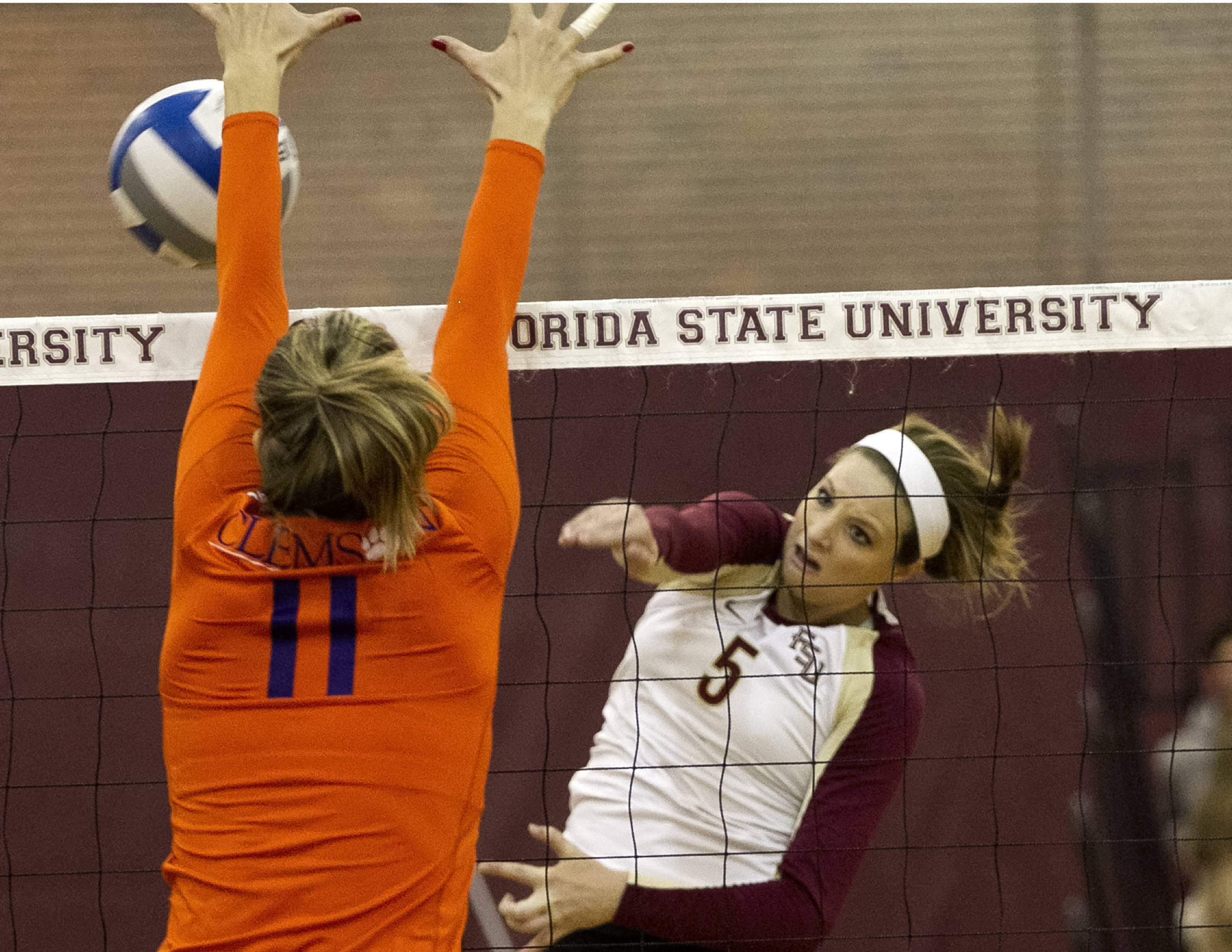 Nicole Walch (5), FSU vs Clemson, 11-27-13,  (Photo by Steve Musco)