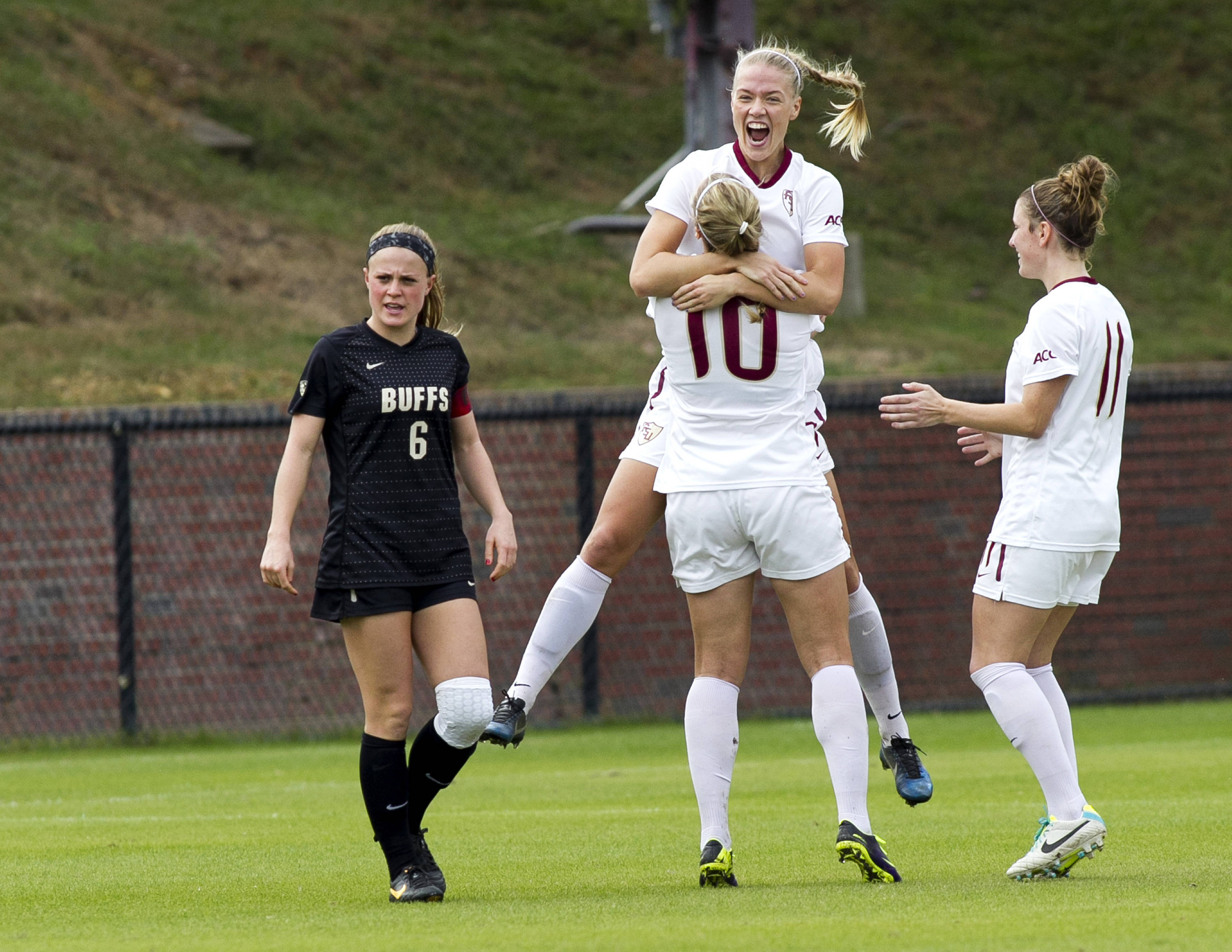 Dagny Brynjarsdottir (7) celebrating scoring the first goal, FSU vs Colorado, 11-23-13, 3rd round NCAA Tournament (Photo by Steve Musco)