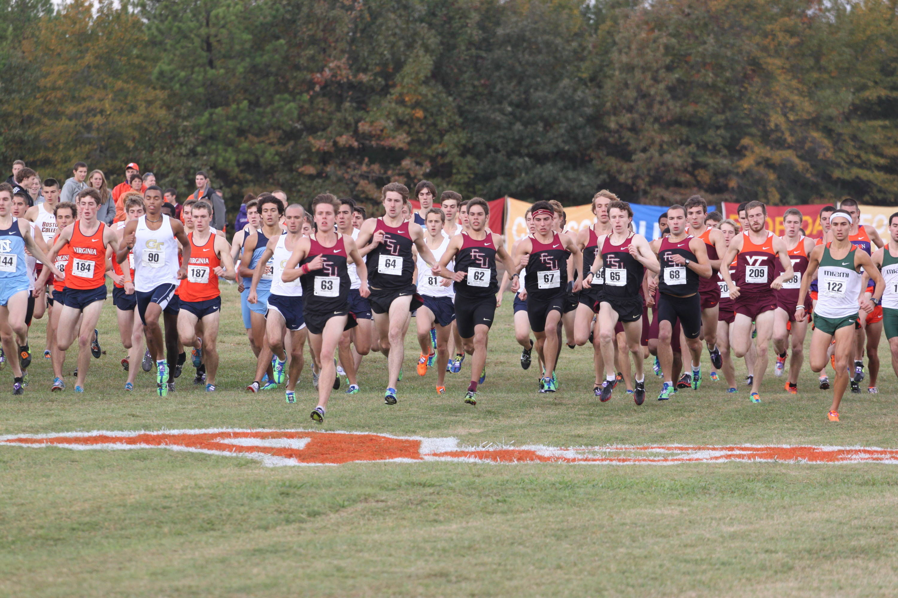 FSU men at the start of the 2011 ACC XC championship