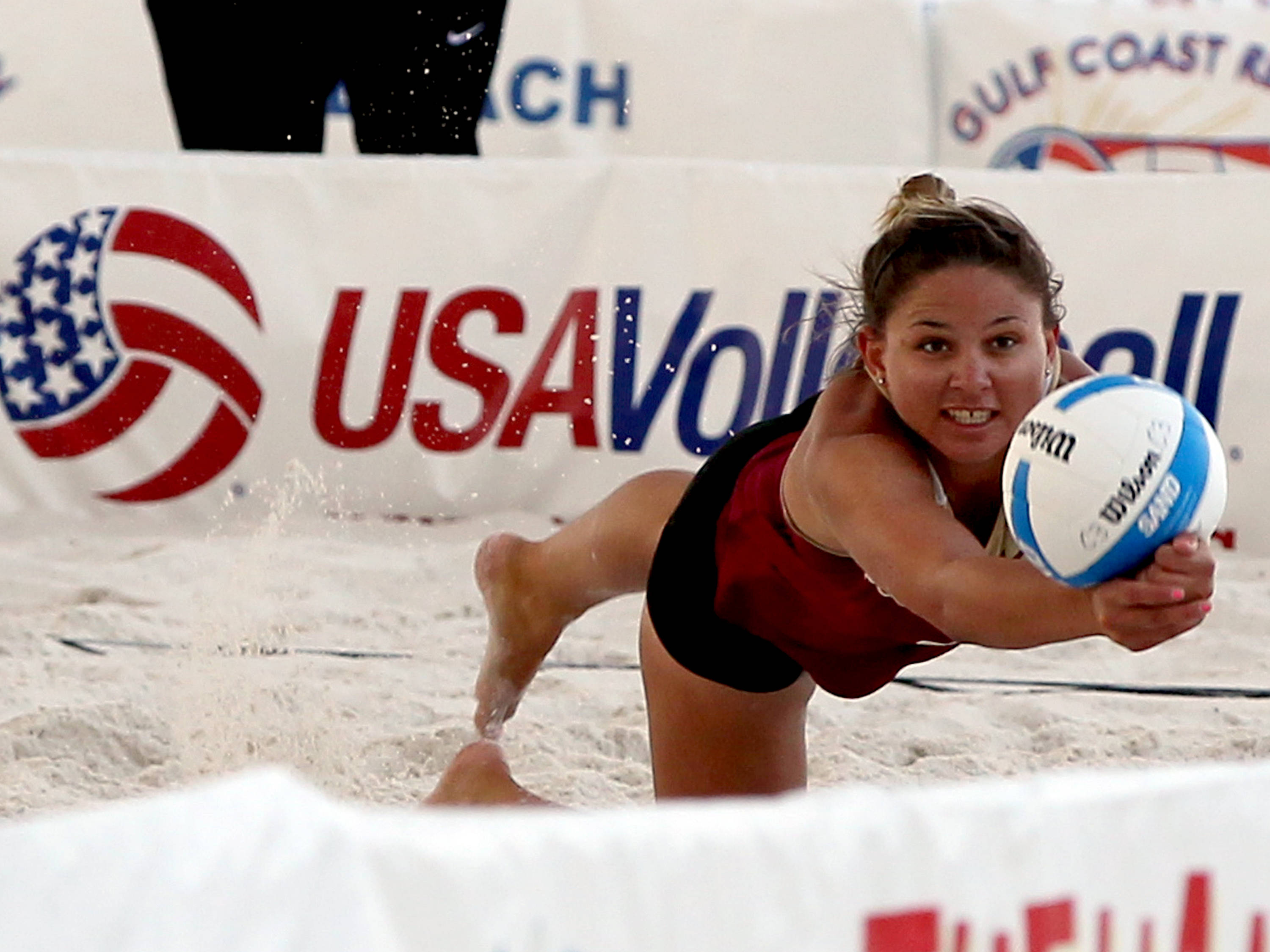 Melanie Pavels, AVCA Collegiate Sand Volleyball National  Championships - Pairs,  Gulf Shores, Alabama, 05/05/13 . (Photo by Steve Musco)