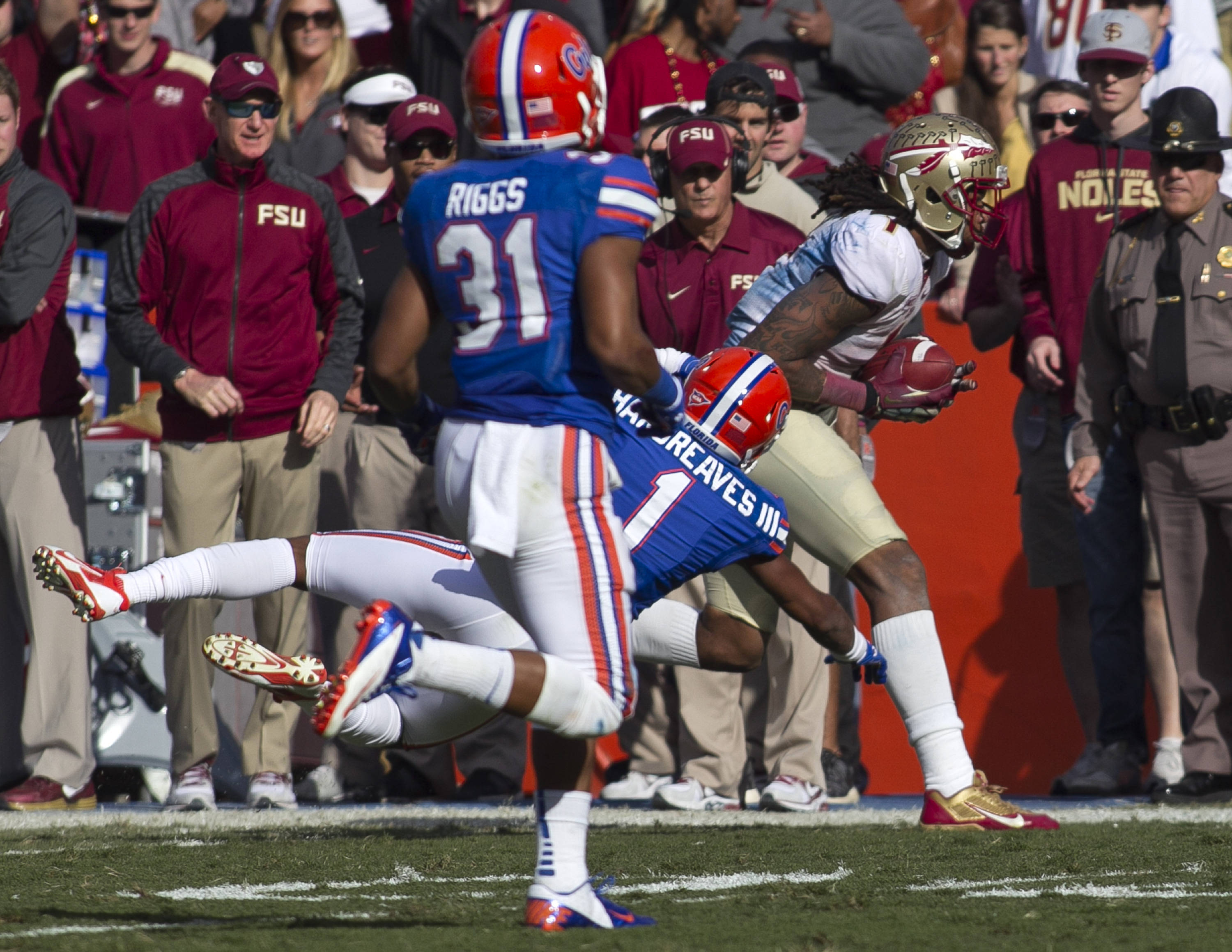 Kelvin Benjamin (1) with a drive saving third down catch, FSU vs Florida, 11-30-13,  (Photo by Steve Musco)