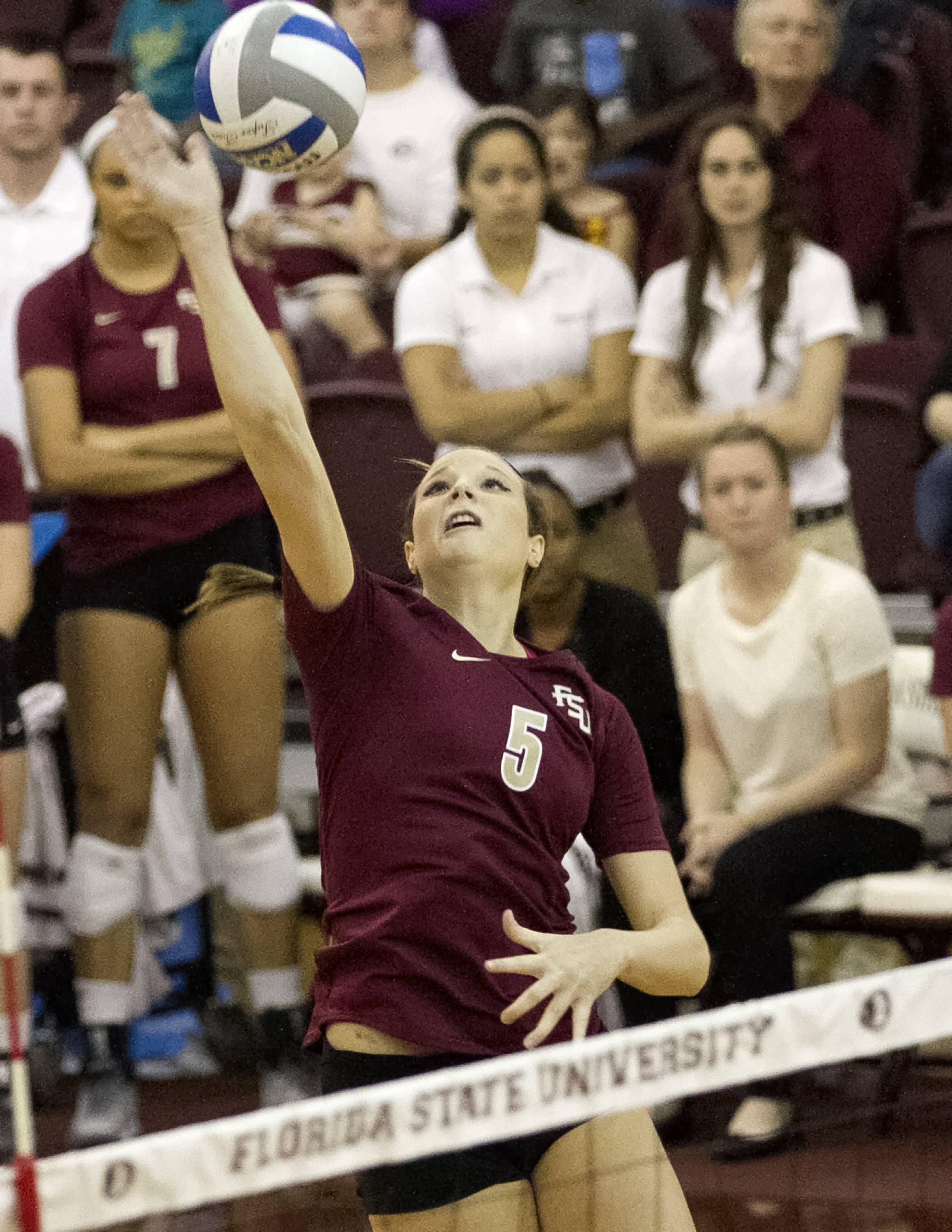 Nicole Walch (5), FSU vs Notre Dame, 11-17-13, (Photo by Steve Musco)