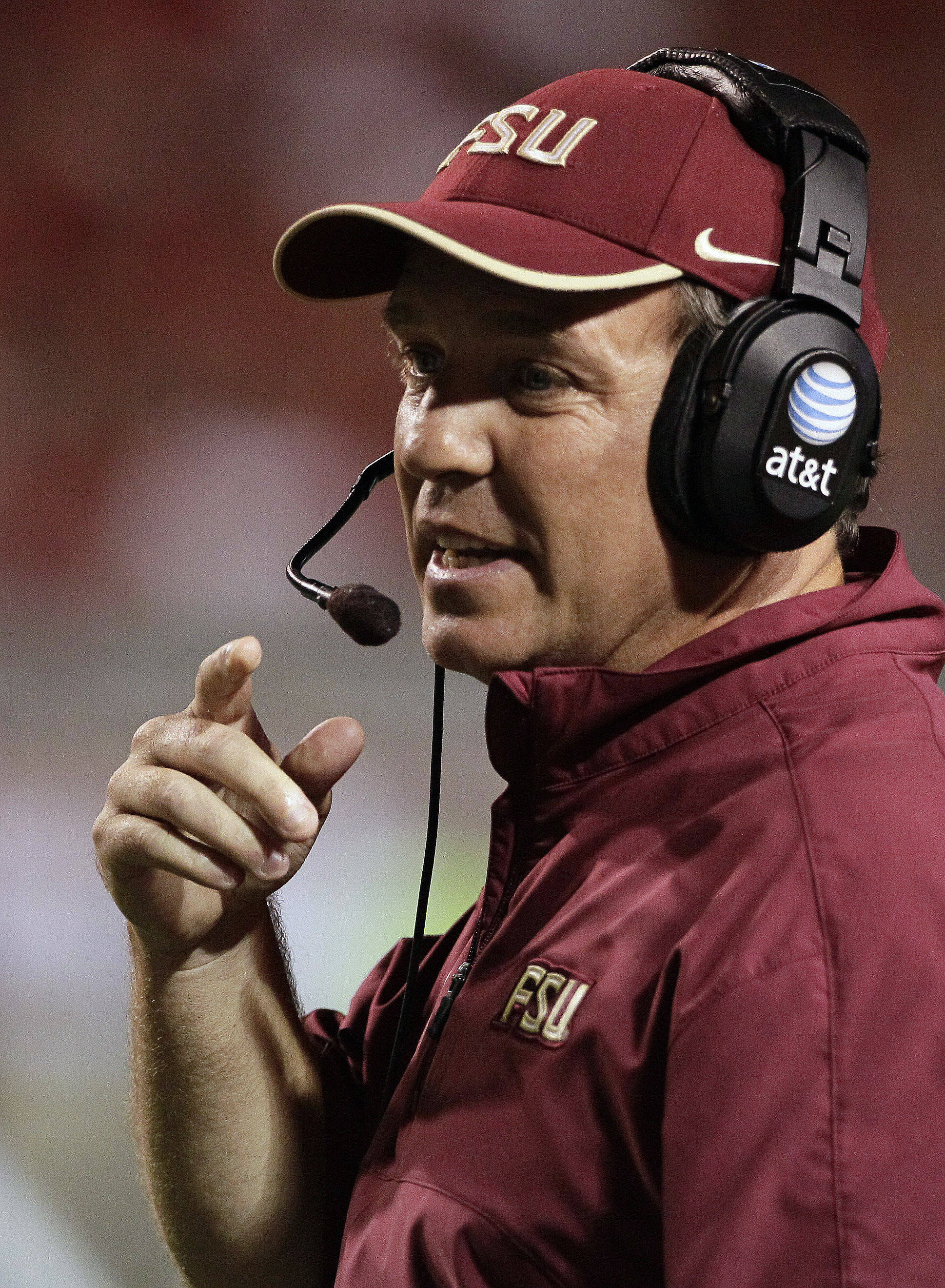 Florida State head coach Jimbo Fisher directs his team. (AP Photo/Gerry Broome)