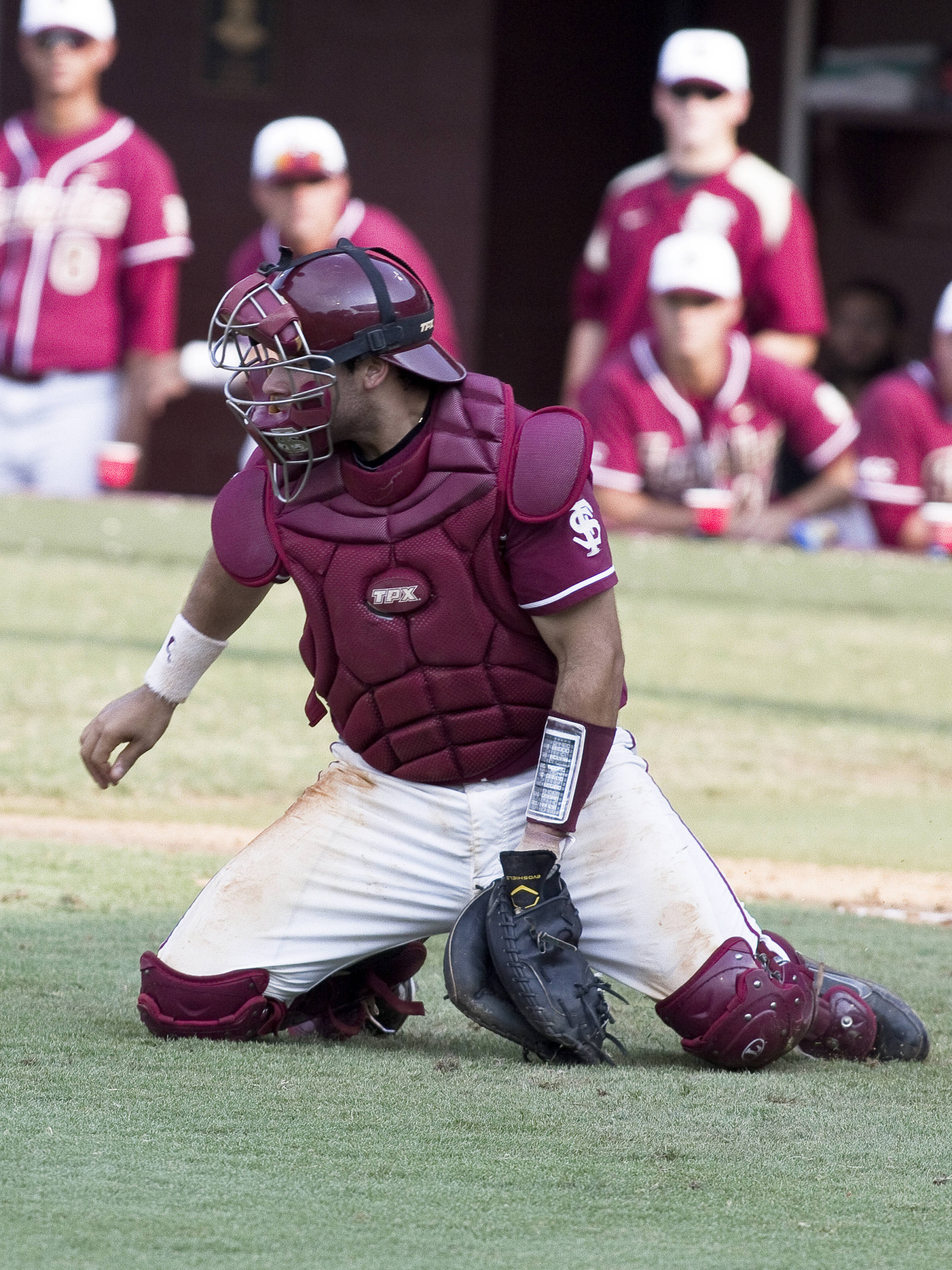 Catcher Rafael Lopez (29) coming out to cut off a throw to the plate