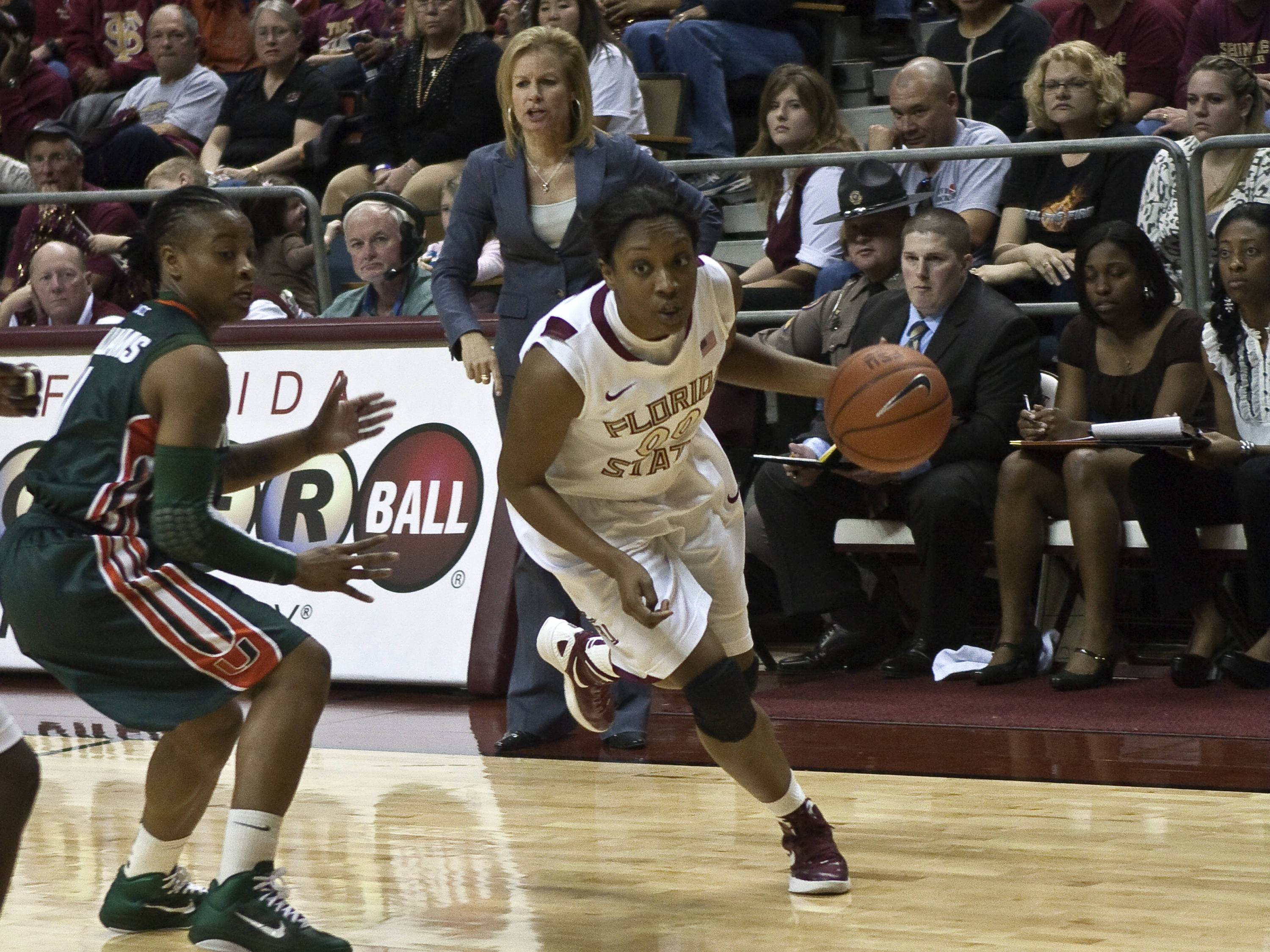 Chasity Clayton (00), Head Coach Sue Semrau, FSU vs Miami,  01/15/2012