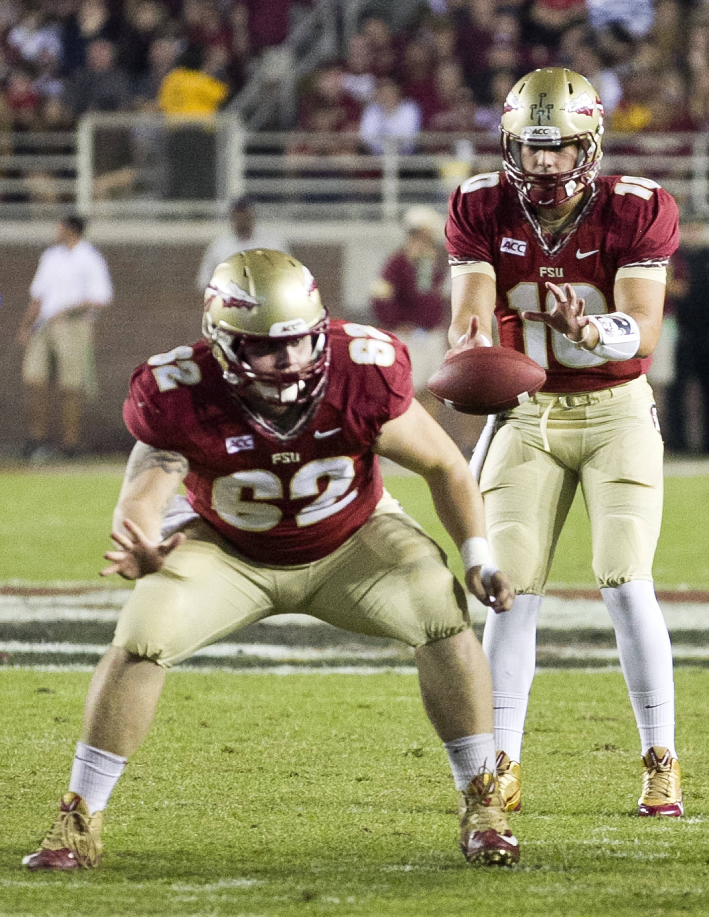 Austin Barron (62), Sean Maguire (10), FSU vs Syracuse, 11-16-13, (Photo by Steve Musco)