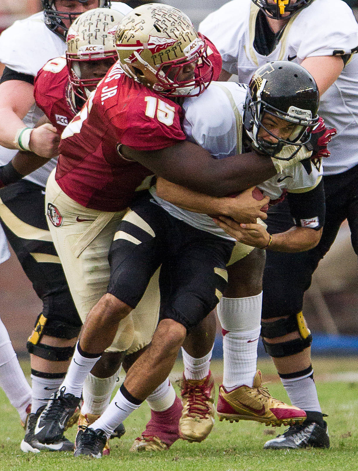 Mario Edwards, Jr. (15) sacks Idaho's quarterback during FSU Football's 80-14 victory over Idaho in Tallahassee, Fla on Saturday, November 23, 2013. Photos by Mike Schwarz.