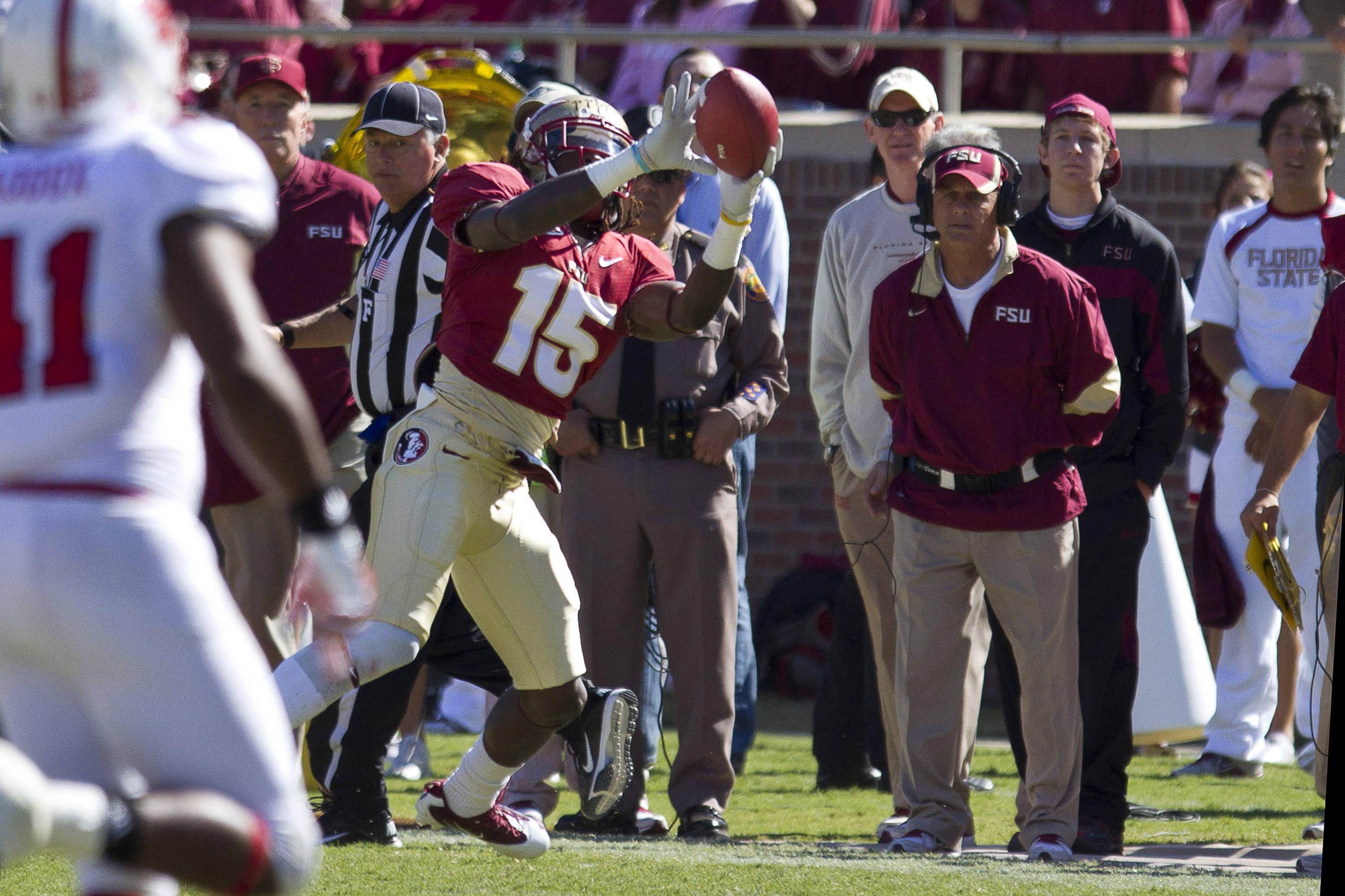 Greg Dent (15) catches a pass during the football game against NC State on October 29, 2011.