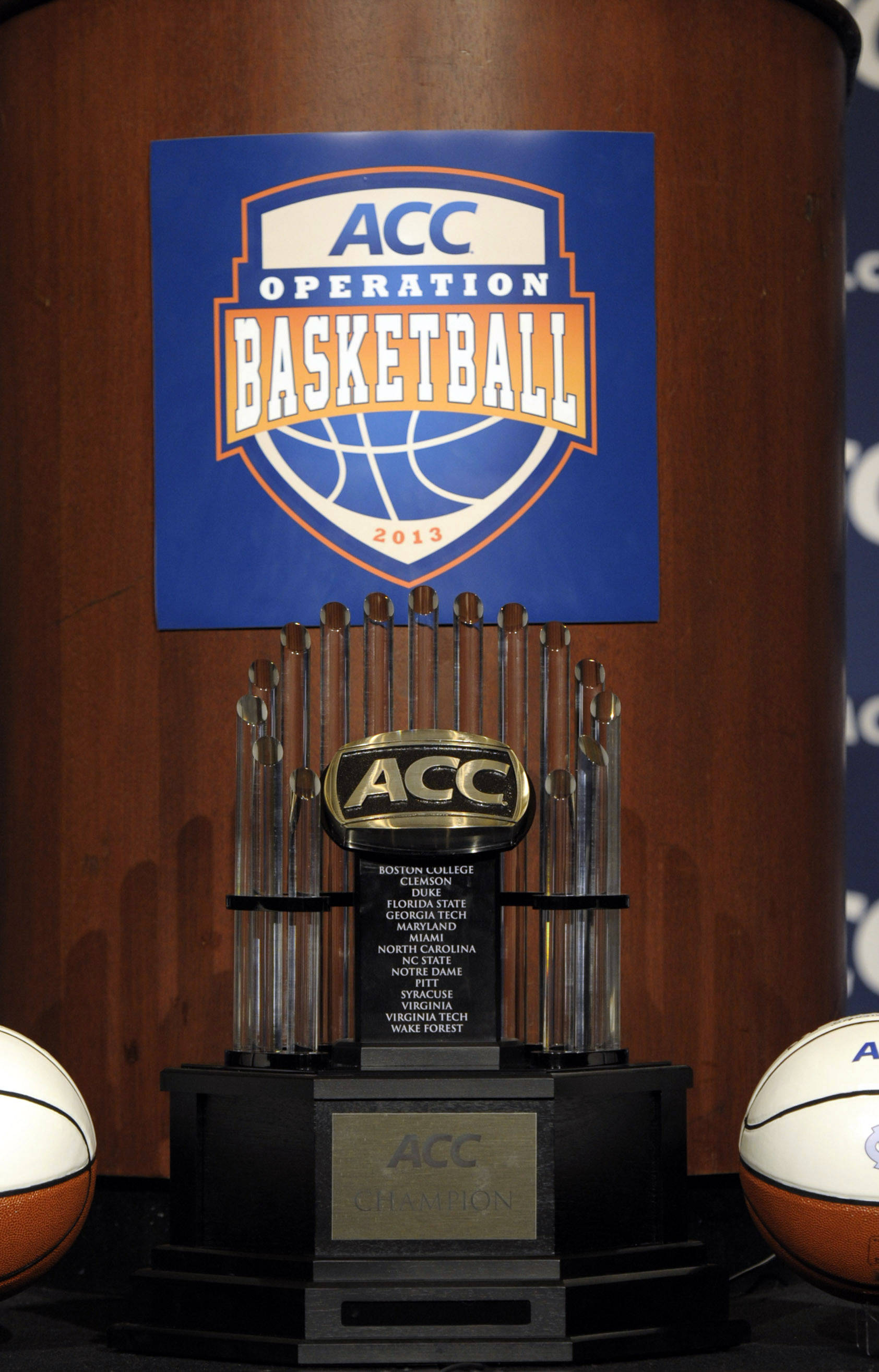 ACC championship trophy as seen during the ACC basketball media day at The Ritz-Carlton. (Sam Sharpe-USA TODAY Sports)
