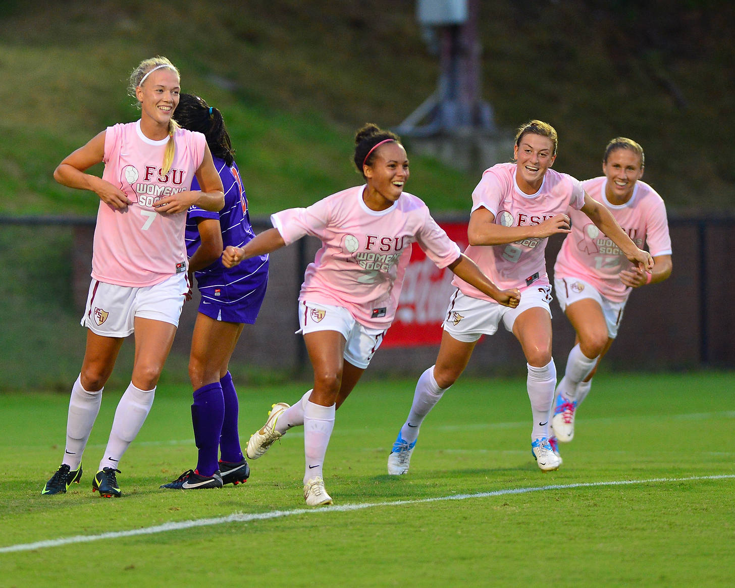 Ines Jaurena celebrates with her teammates after scoring the first goal of the game against Clemson.