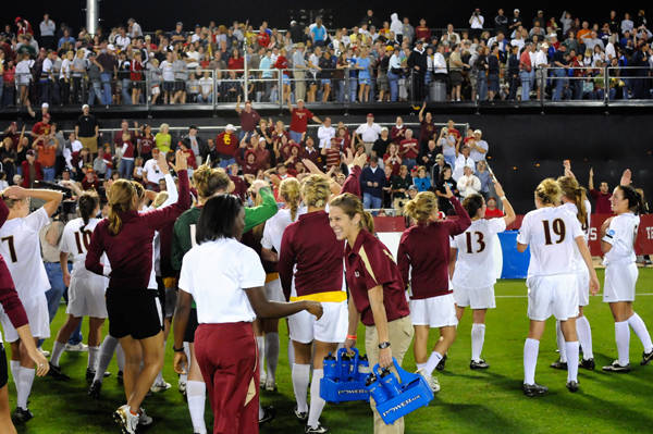 The Seminoles celebrate after advancing to the national championship for the first time in school history.