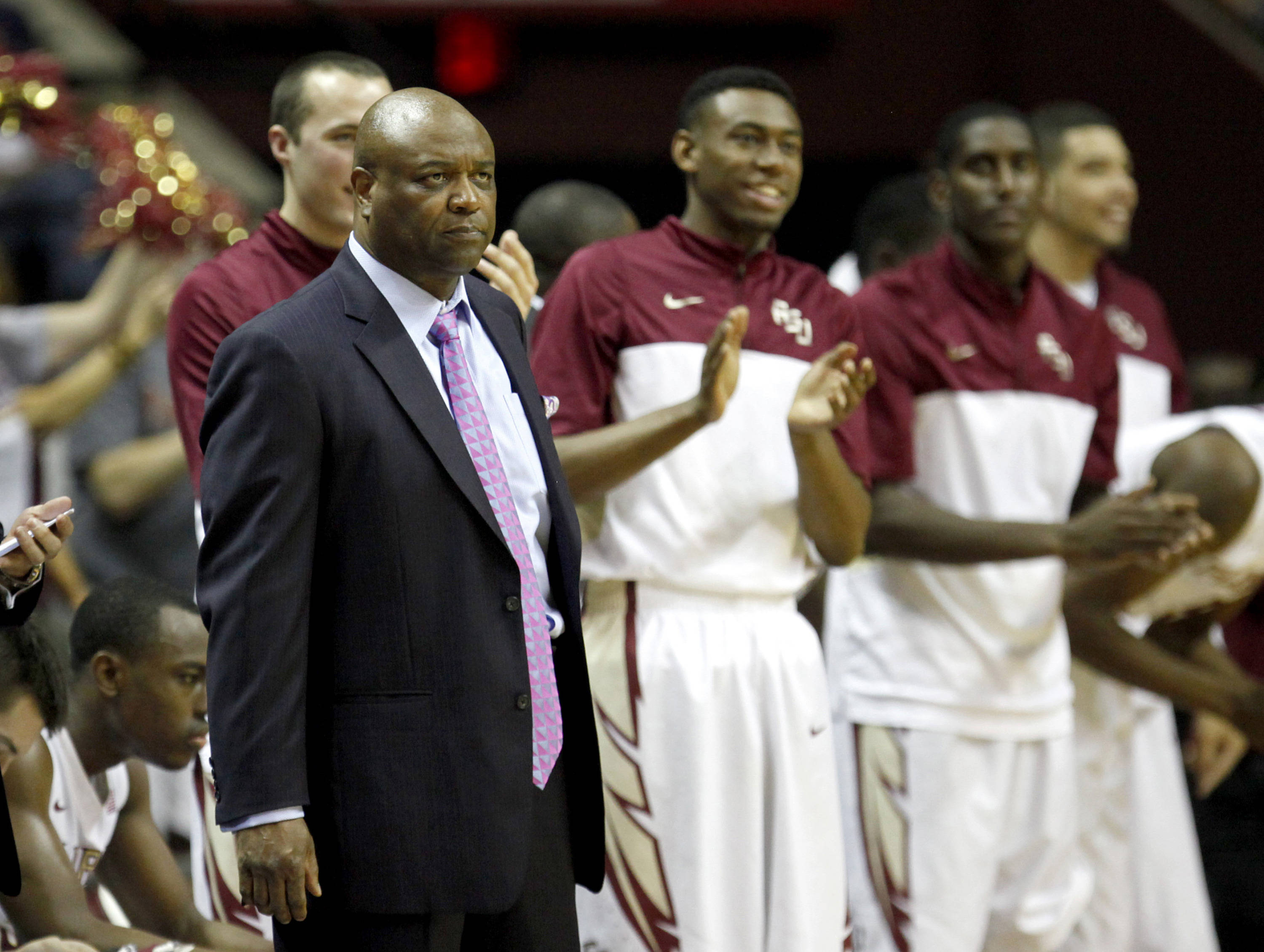 Mar 9, 2014; Tallahassee, FL, USA; Florida State Seminoles head coach Leonard Hamilton on the sideline against the Syracuse Orange during the second half at Donald L. Tucker Center. Syracuse defeated Florida State 74-58. Mandatory Credit: Matt Stamey-USA TODAY Sports