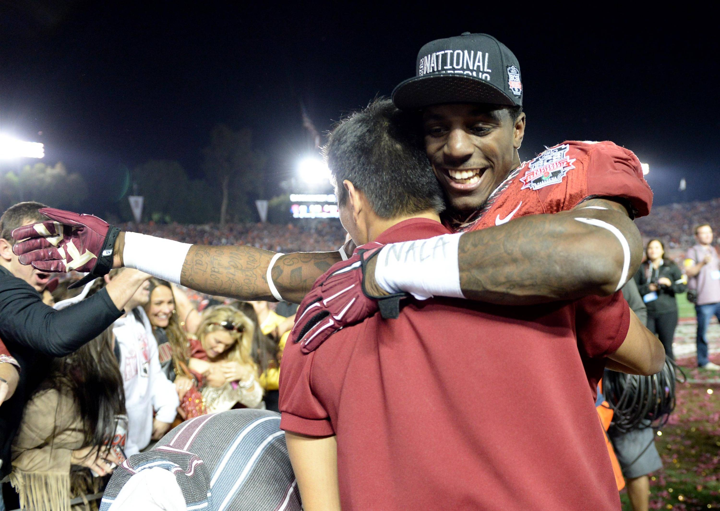 Jan 6, 2014; Pasadena, CA, USA; Florida State Seminoles running back James Wilder Jr. (32) celebrates after the 2014 BCS National Championship game against the Auburn Tigers at the Rose Bowl.  Mandatory Credit: Jayne Kamin-Oncea-USA TODAY Sports