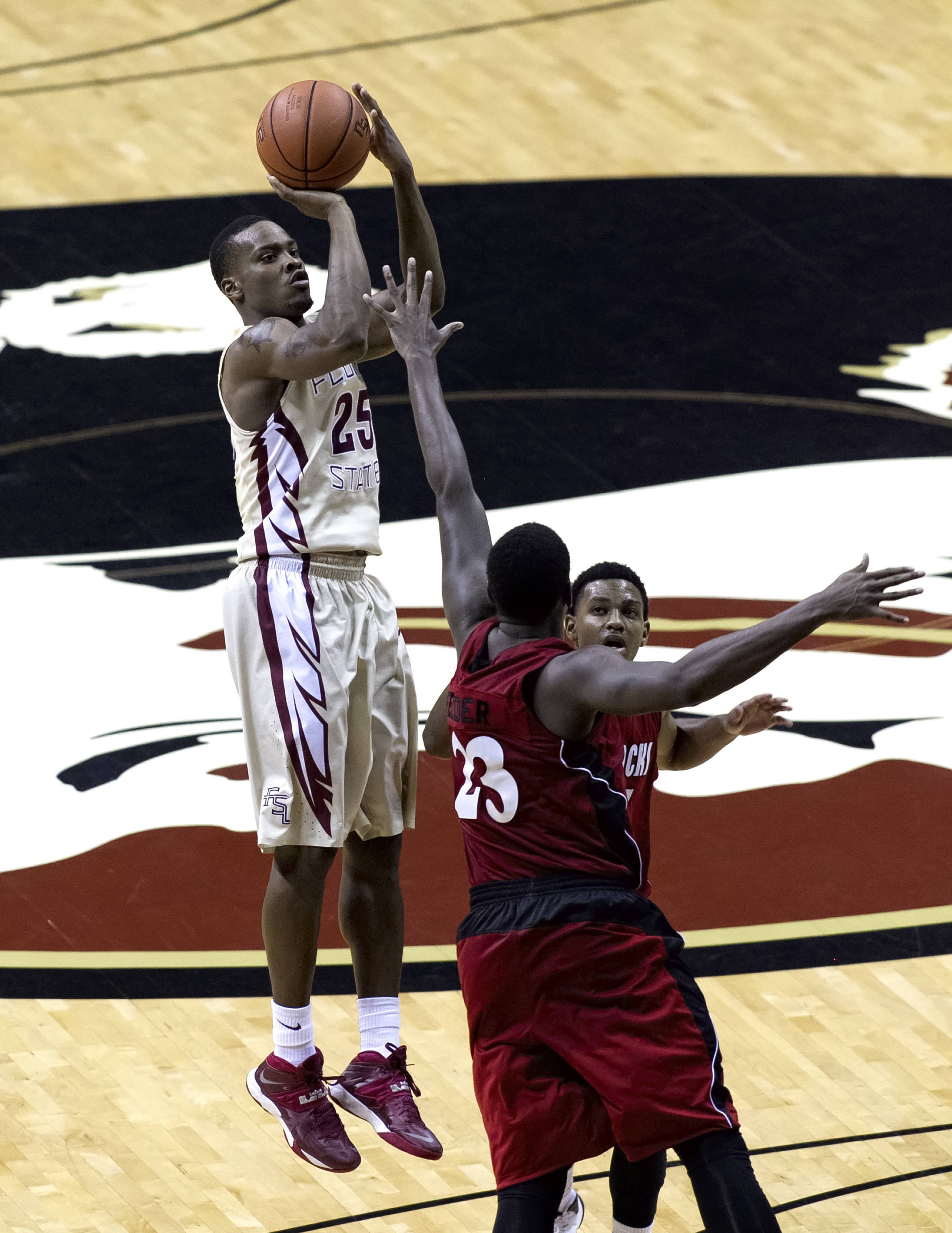 Aaron Thomas (25) gets up high on his jumper, FSU vs Jacksonville State, 12-08-13,  (Photo by Steve Musco)