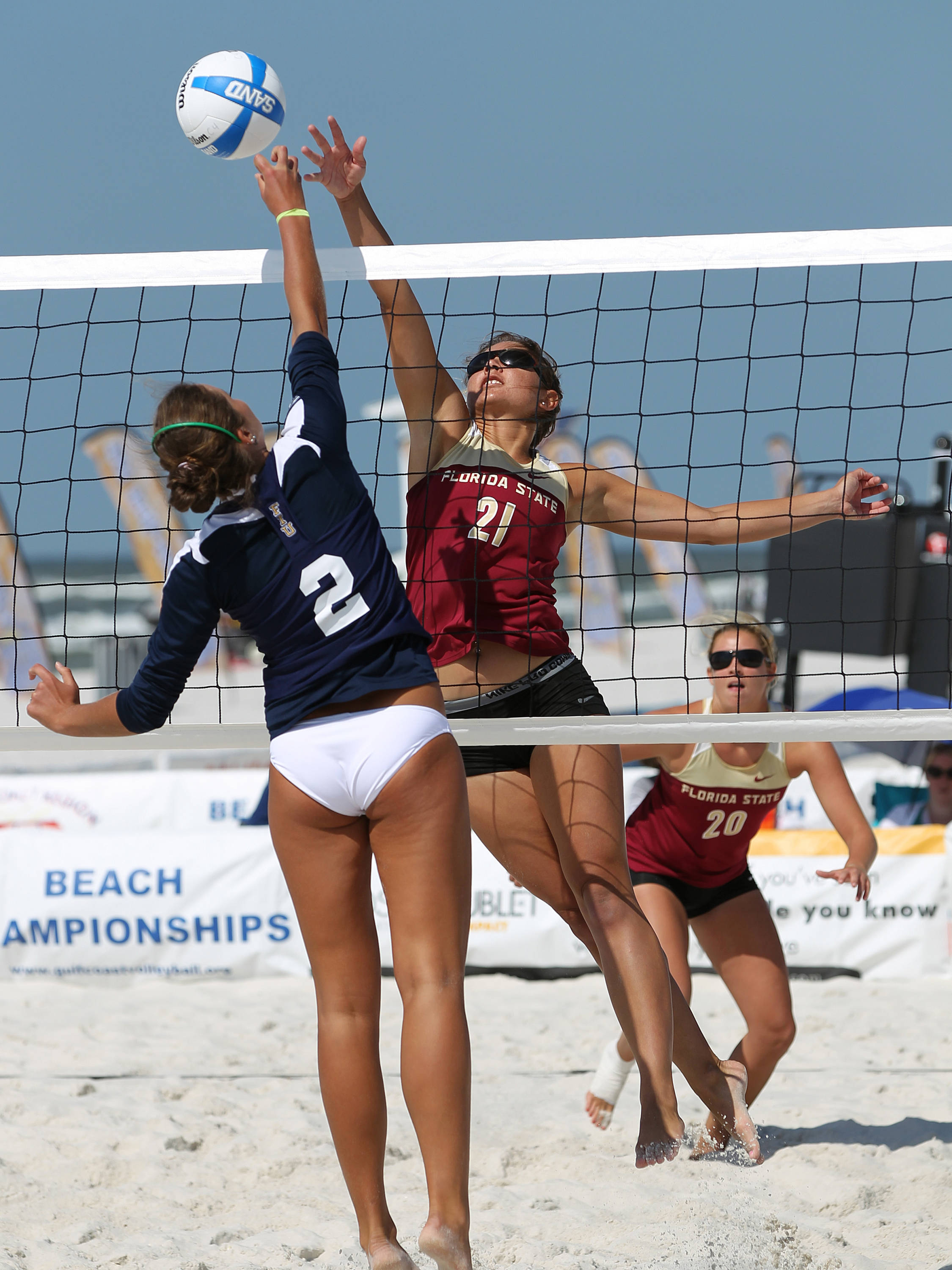 Jace Pardon (21) and Sarah Wickstrom (20), AVCA Collegiate Sand Volleyball National  Championships - Pairs,  Gulf Shores, Alabama, 05/05/13 . (Photo by Steve Musco)