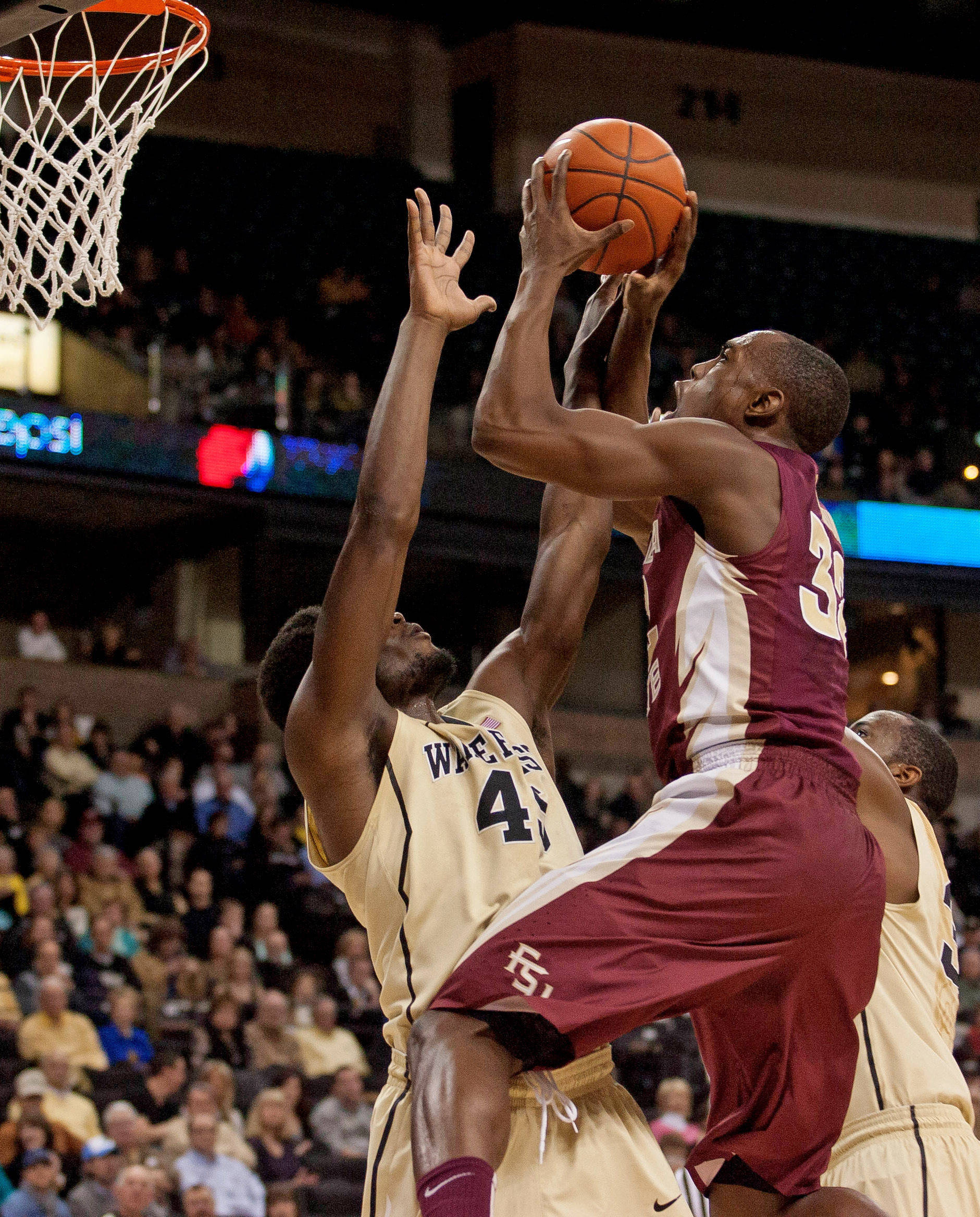 Florida State Seminoles guard Montay Brandon (32) shoots over Wake Forest Demon Deacons na Arnaud-William Adala Moto (45). (Jeremy Brevard-USA TODAY Sports)