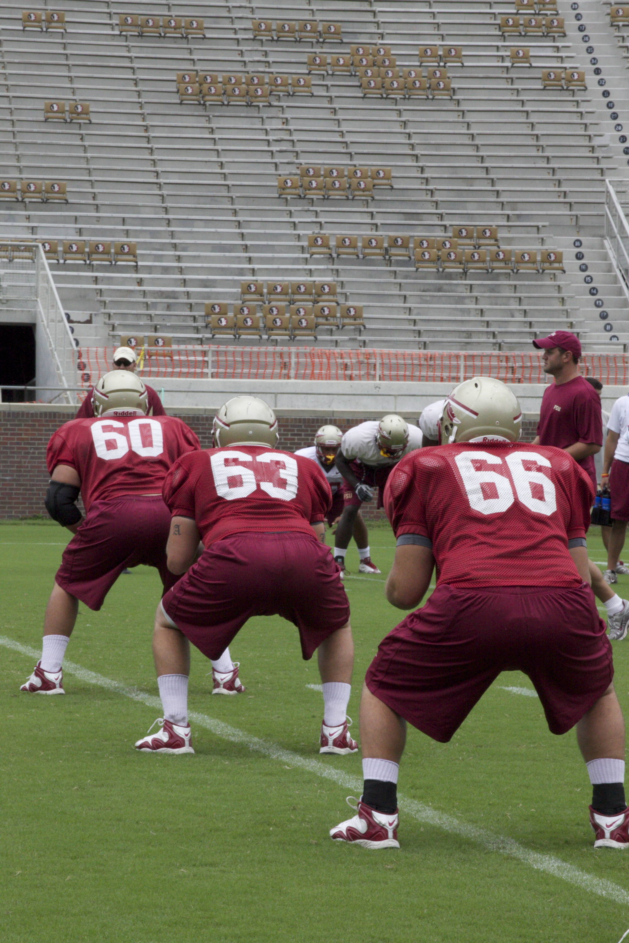 Offensive line stretching