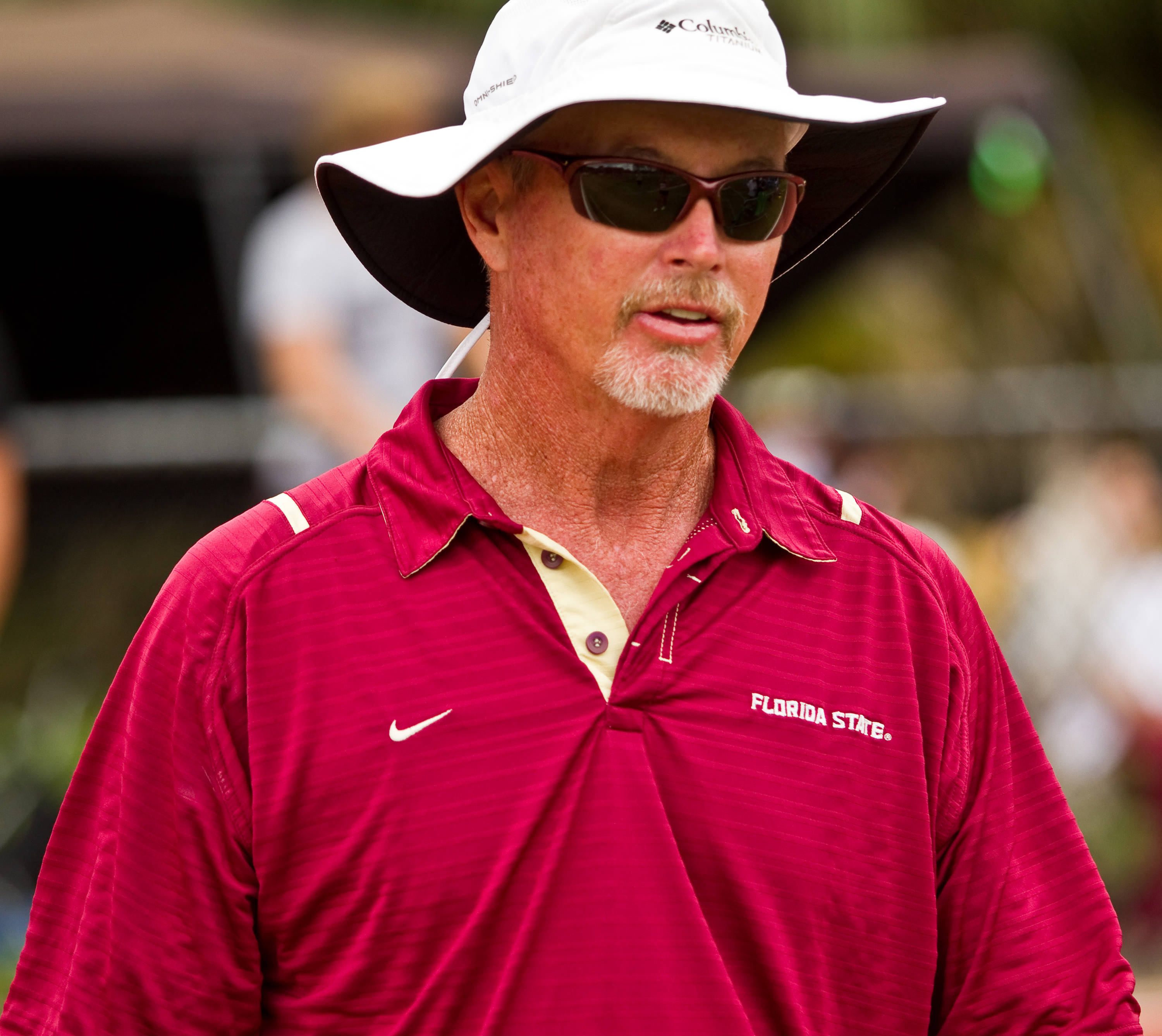 FSU jumps and vaults coach Dennis Nobles looks over the competition in the pole vault.