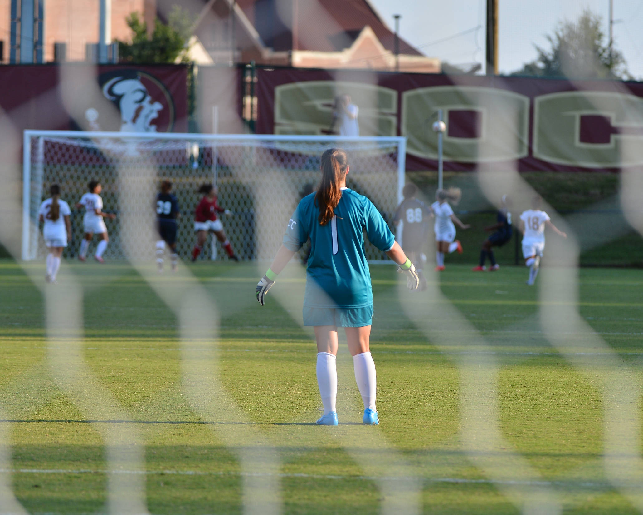 A look from behind the net with Taylor Vancil in goal.