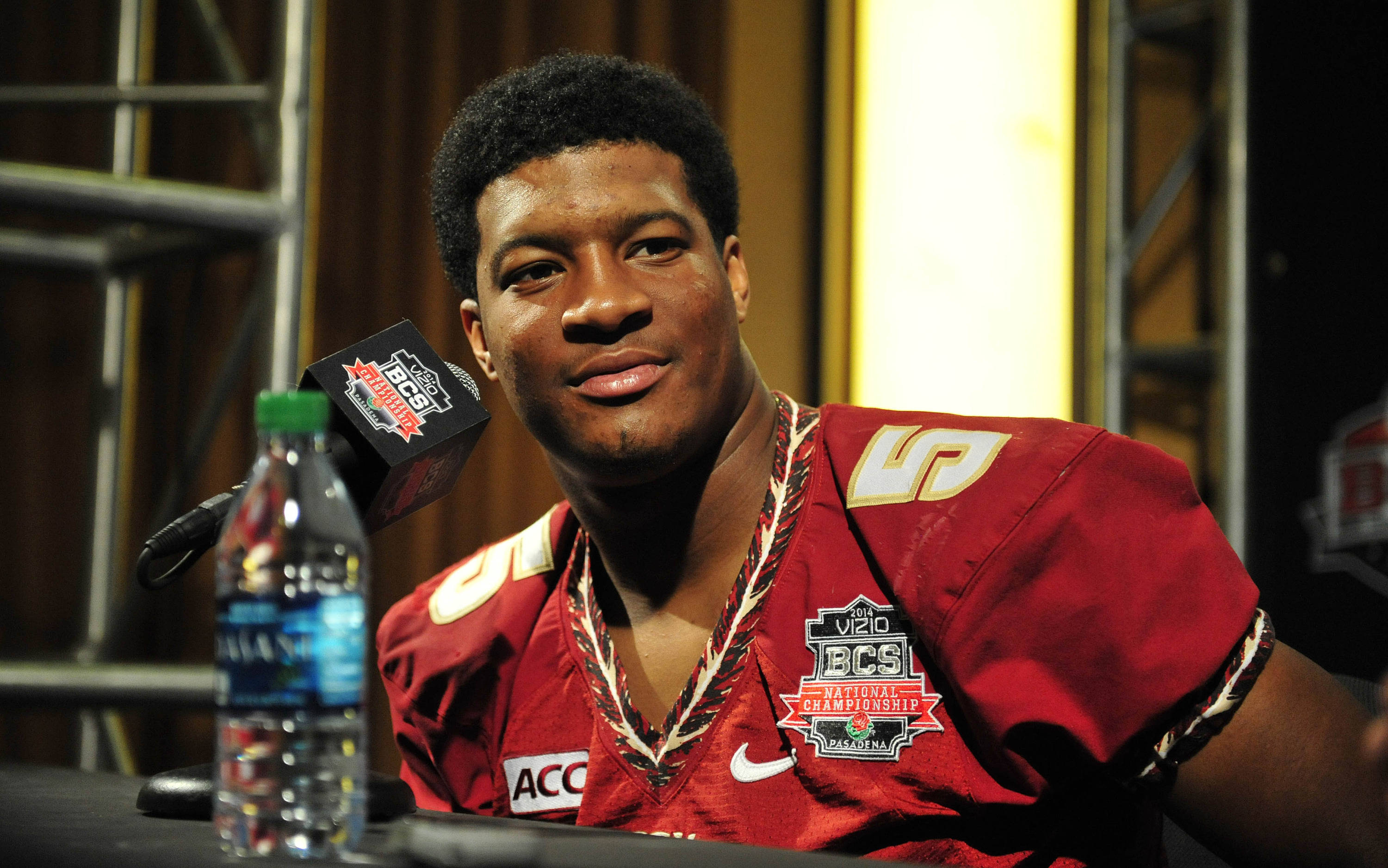 January 4, 2014; Newport Beach, CA, USA; Seminoles quarterback Jameis Winston speaks to media during media day at Newport Beach Marriott. Gary A. Vasquez-USA TODAY Sports