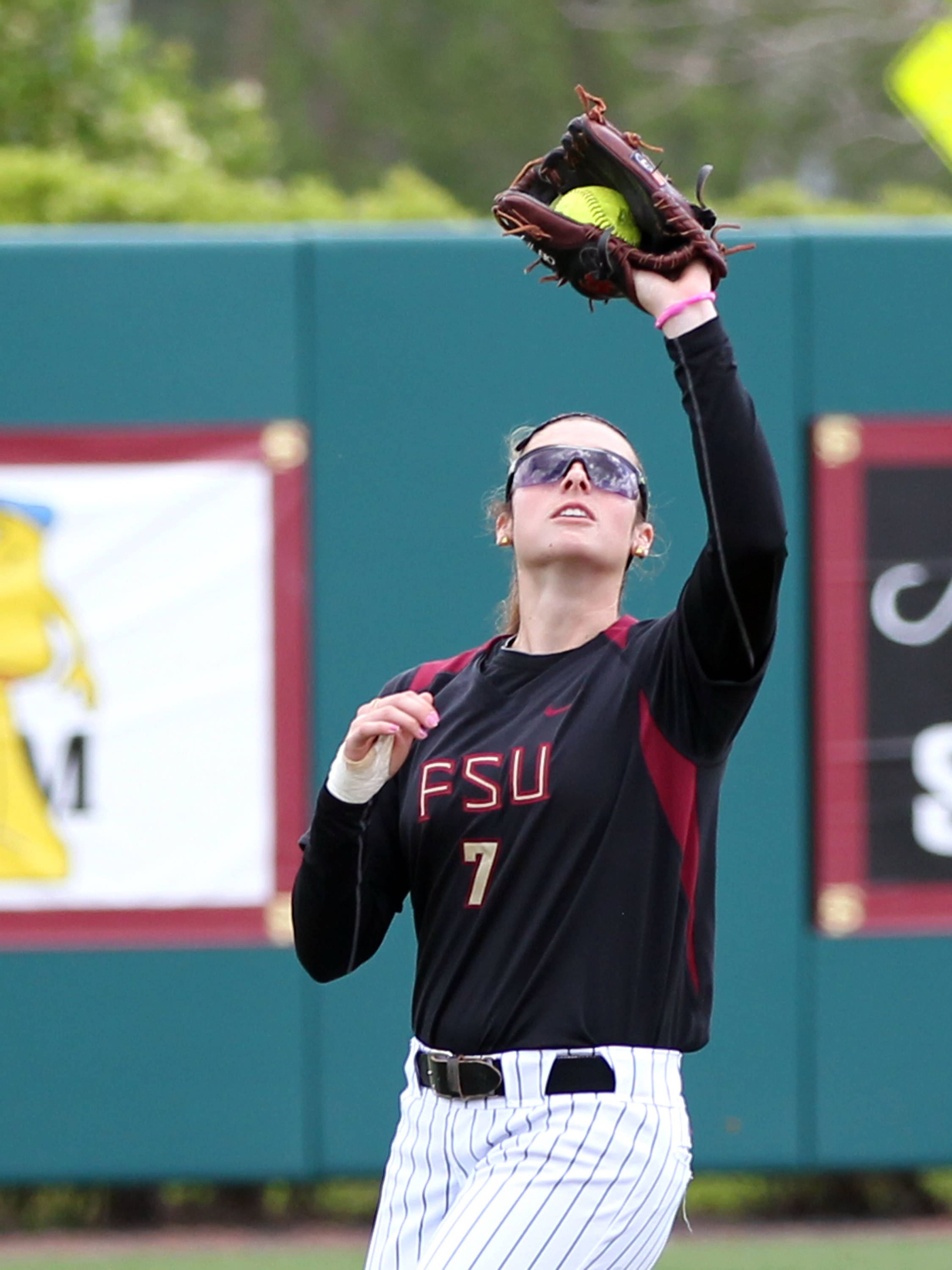 Maddie O'Brien (7), FSU vs BC, 04/07/13 . (Photo by Steve Musco)