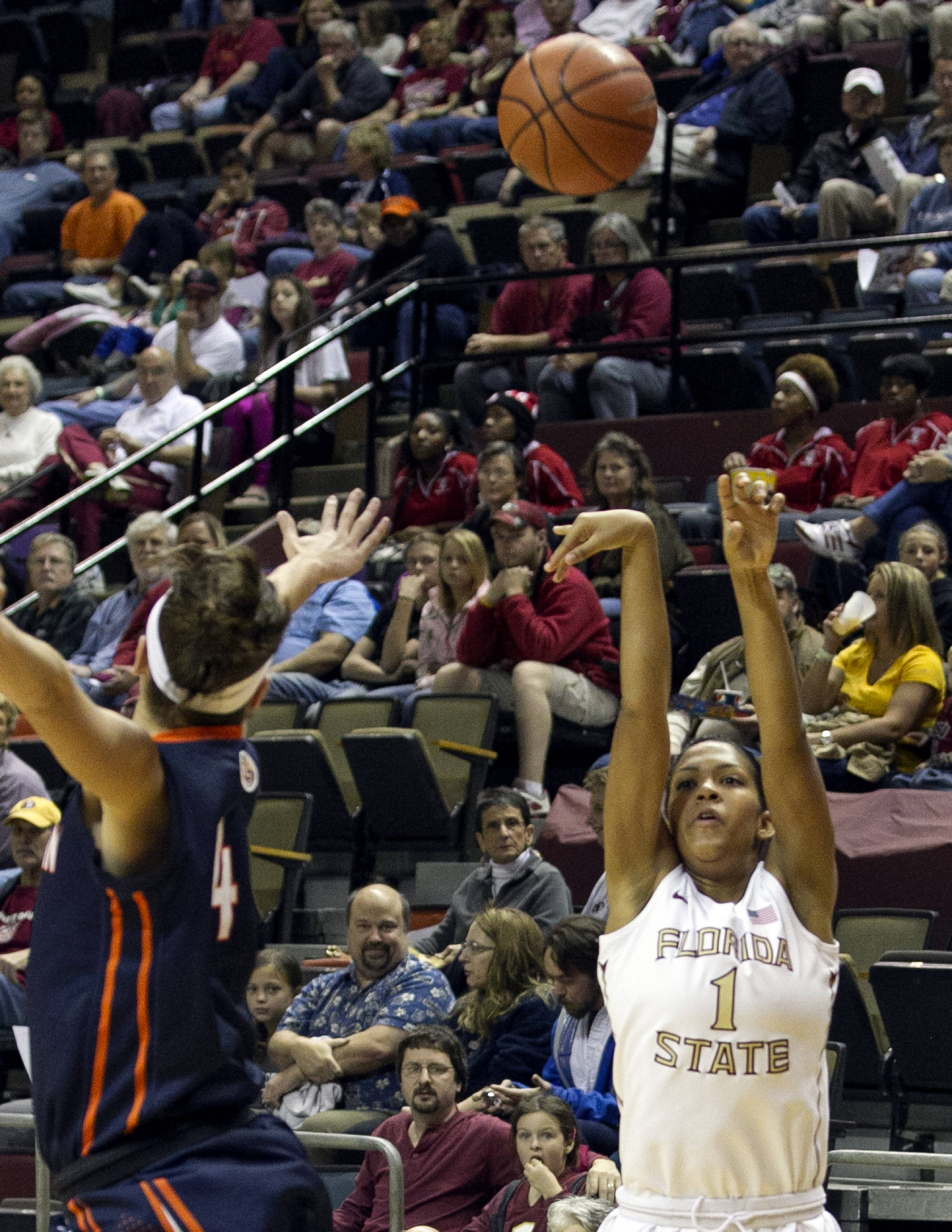 Morgan Jones (1) releasing a three point shot, FSU vs UT Martin, 12-28-13,  (Photo by Steve Musco)