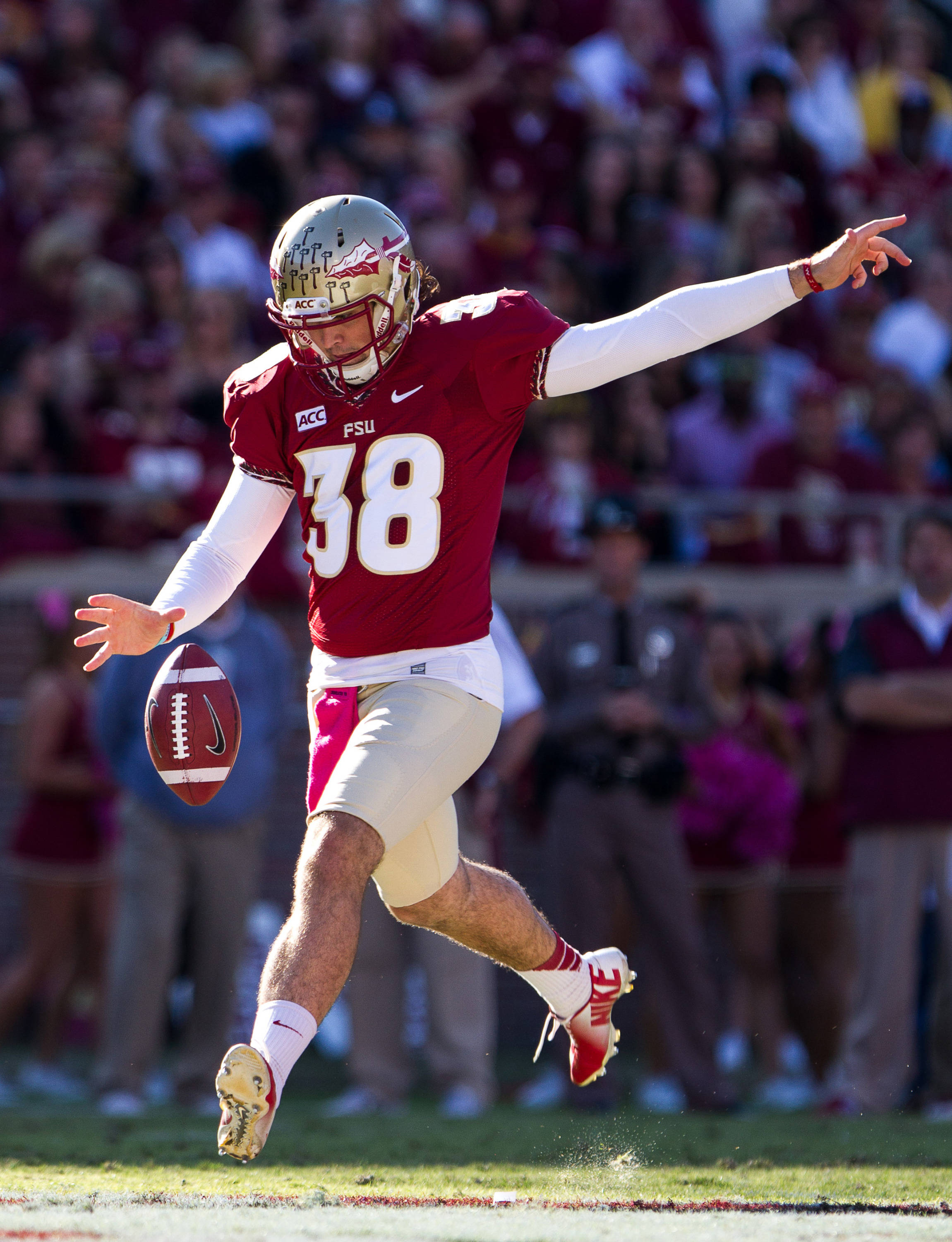 Cason Beatty (38) punts during FSU Football's 49-17 win over NC State on Saturday, October 26, 2013 in Tallahassee, Fla. Photo by Michael Schwarz.