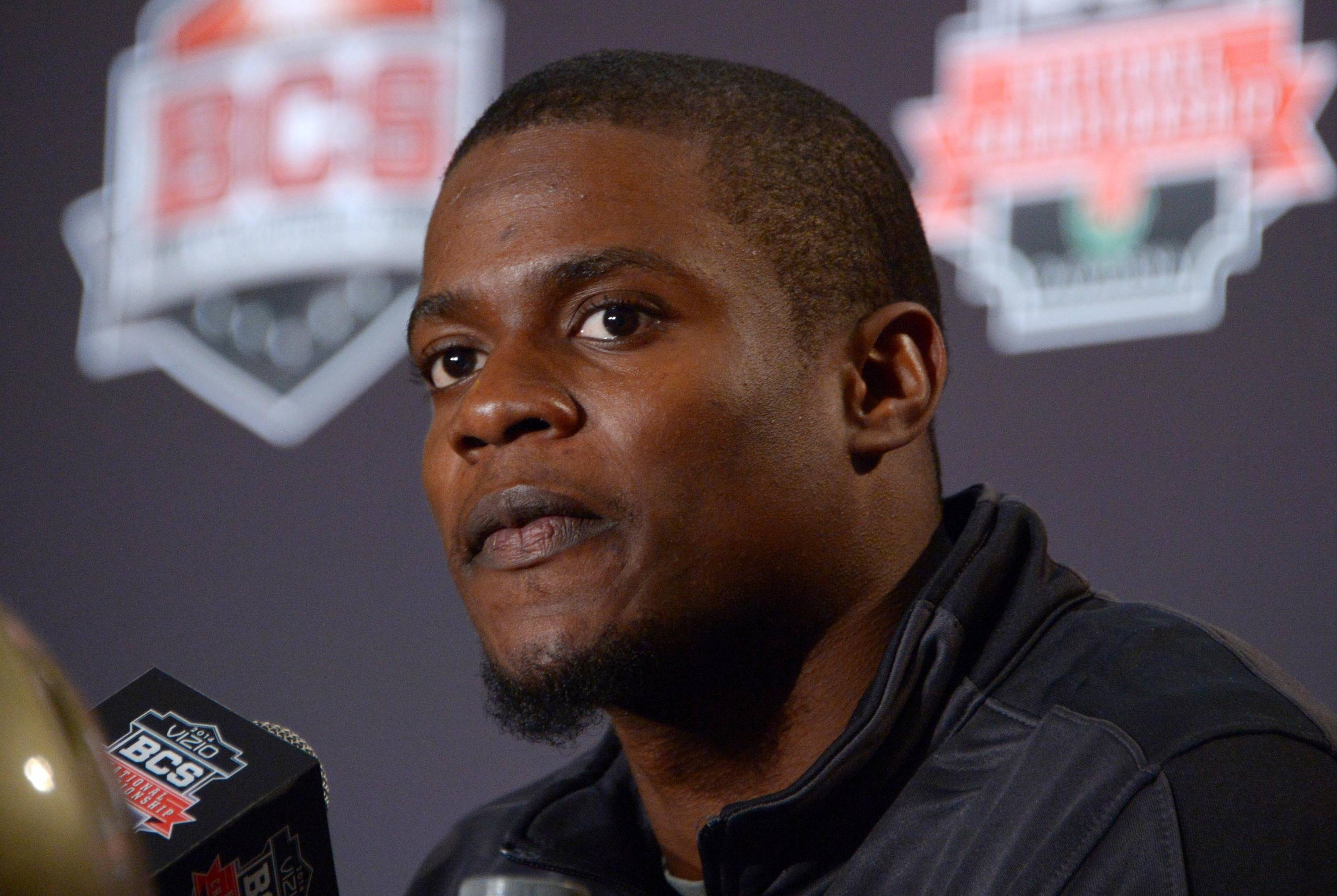 Florida State Seminoles cornerback Lamarcus Joyner at the 2014 BCS National Championship press conference at Newport Beach Marriott. Mandatory Credit: Kirby Lee-USA TODAY Sports