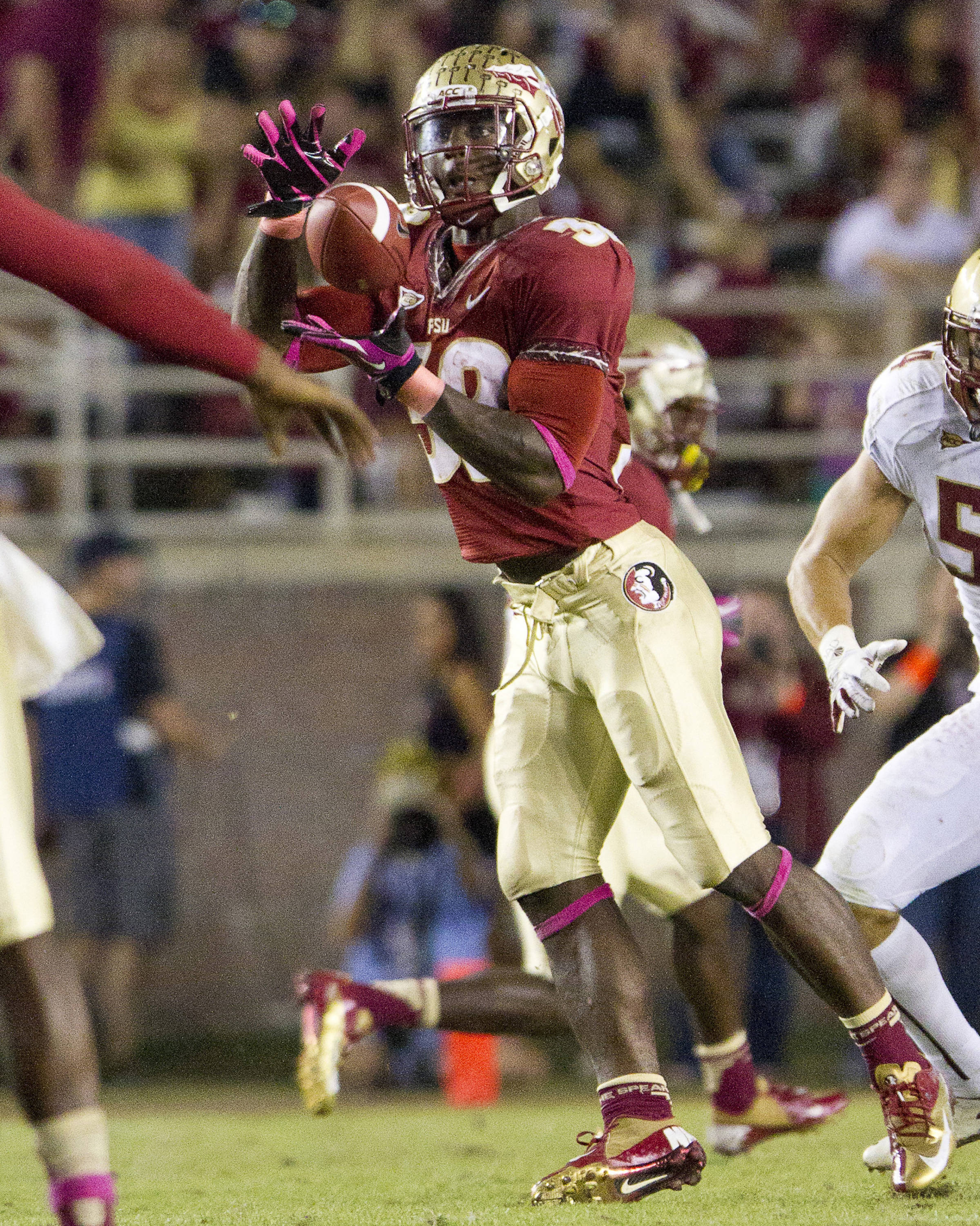 Jr. Wilder James (32) makes a catch during the FSU vs Boston College football game on October 13, 2012 in Tallahassee, Fla.