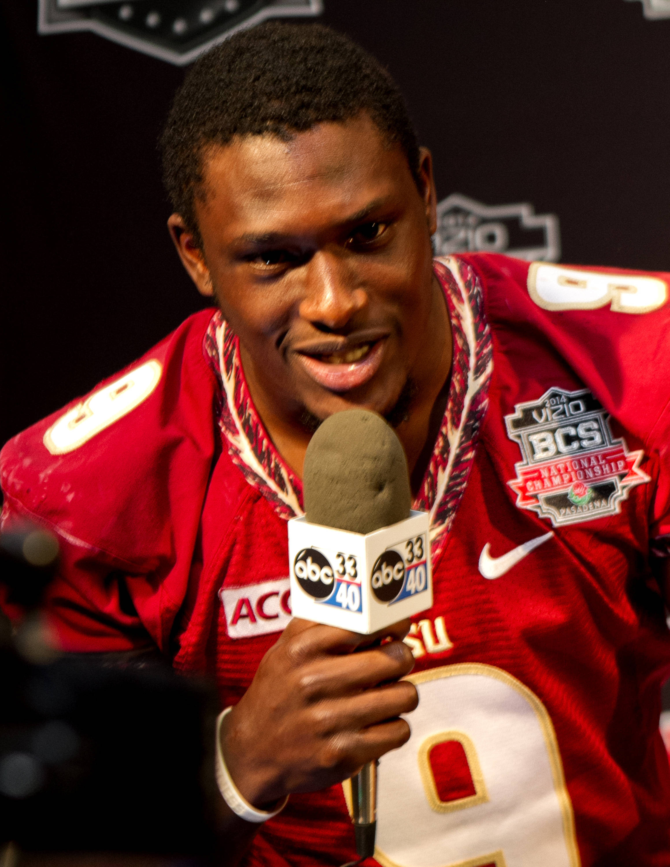 Karlos Williams (9), FSU at BCS Championship Media Day,  1-04-14,  (Photo by Steve Musco)