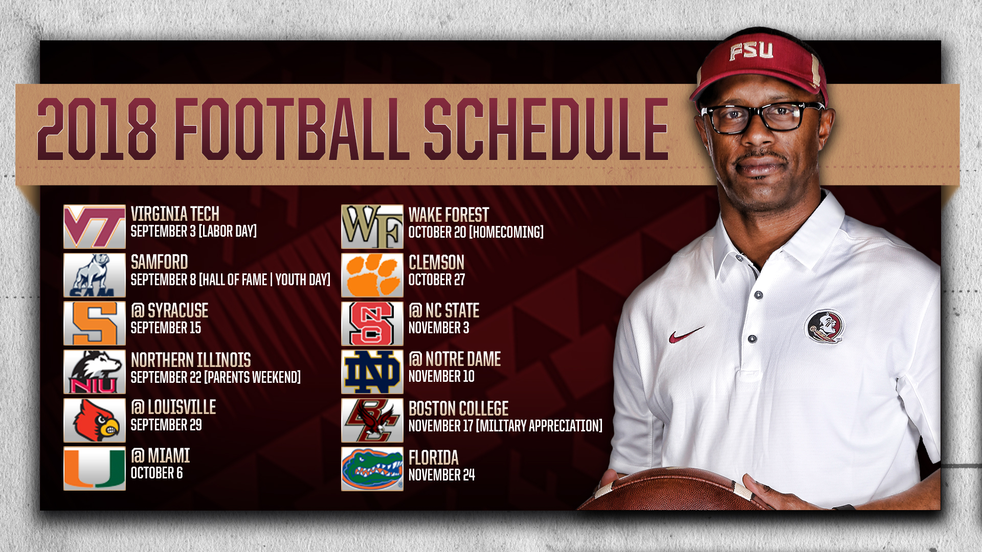 Slobbery image within fsu football schedule printable