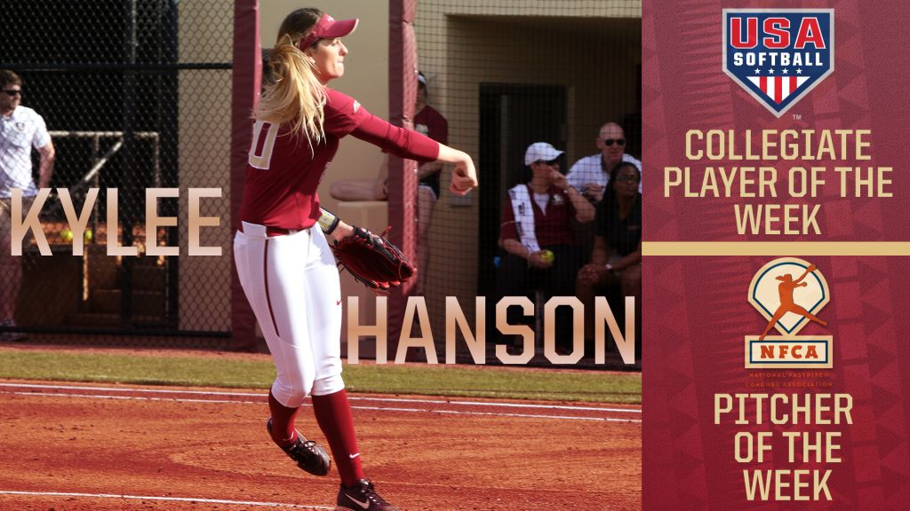 Kylee Hanson Named USA Softball and NFCA Player Of The Week
