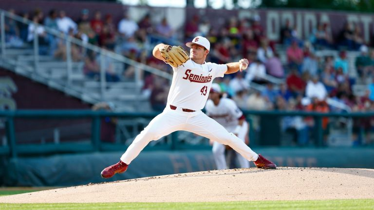 Drew Parrish allowed just four hits in eight innings while striking out 13 Hurricanes.
