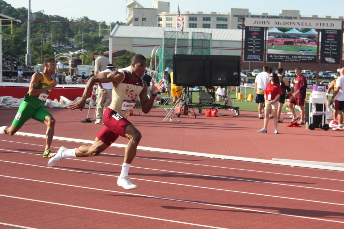 Maurice Mitchell in the 200m dash.