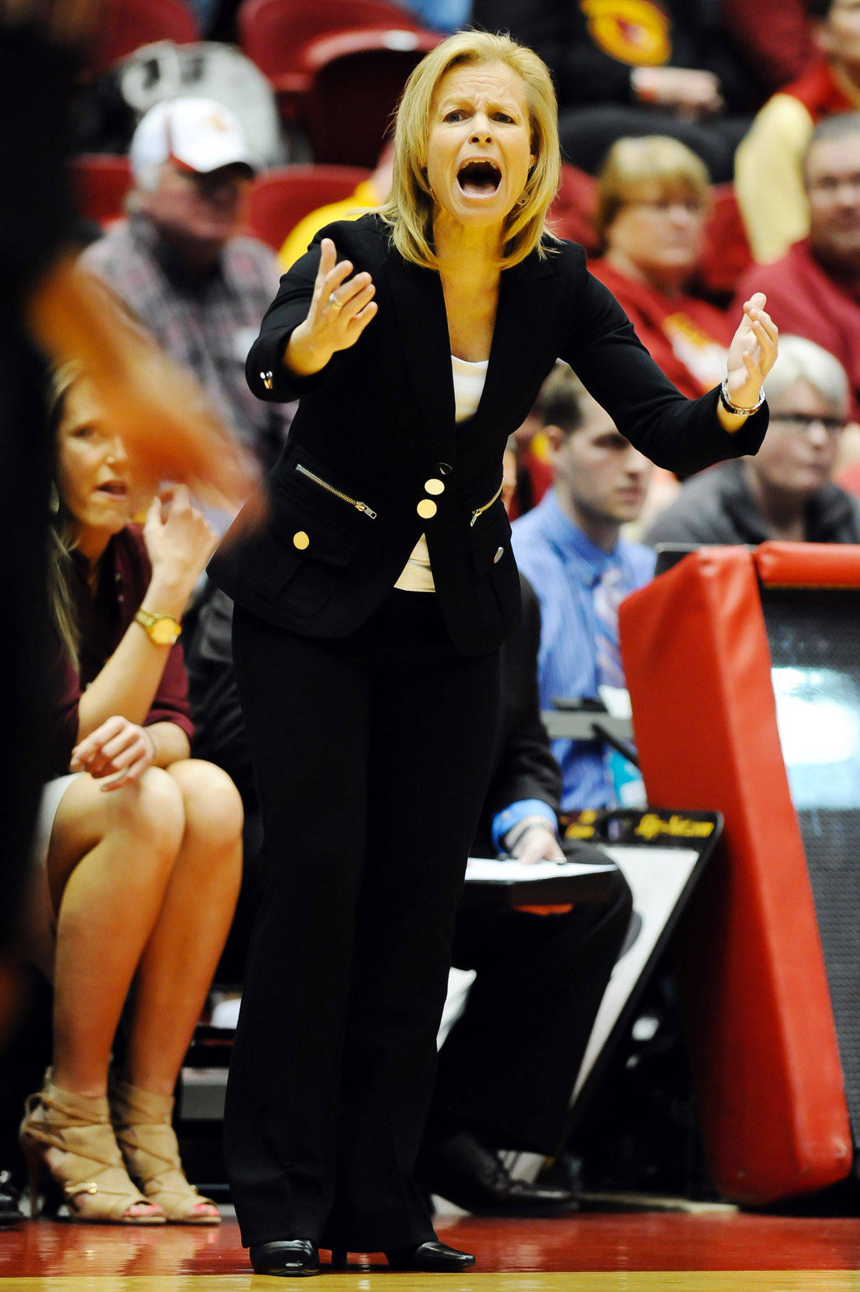 Mar 22, 2014; Ames, IA, USA; Florida State Seminoles head coach Sue Semrau shouts instructions to her team against the Iowa State Cyclones. Mandatory Credit: Steven Branscombe-USA TODAY Sports
