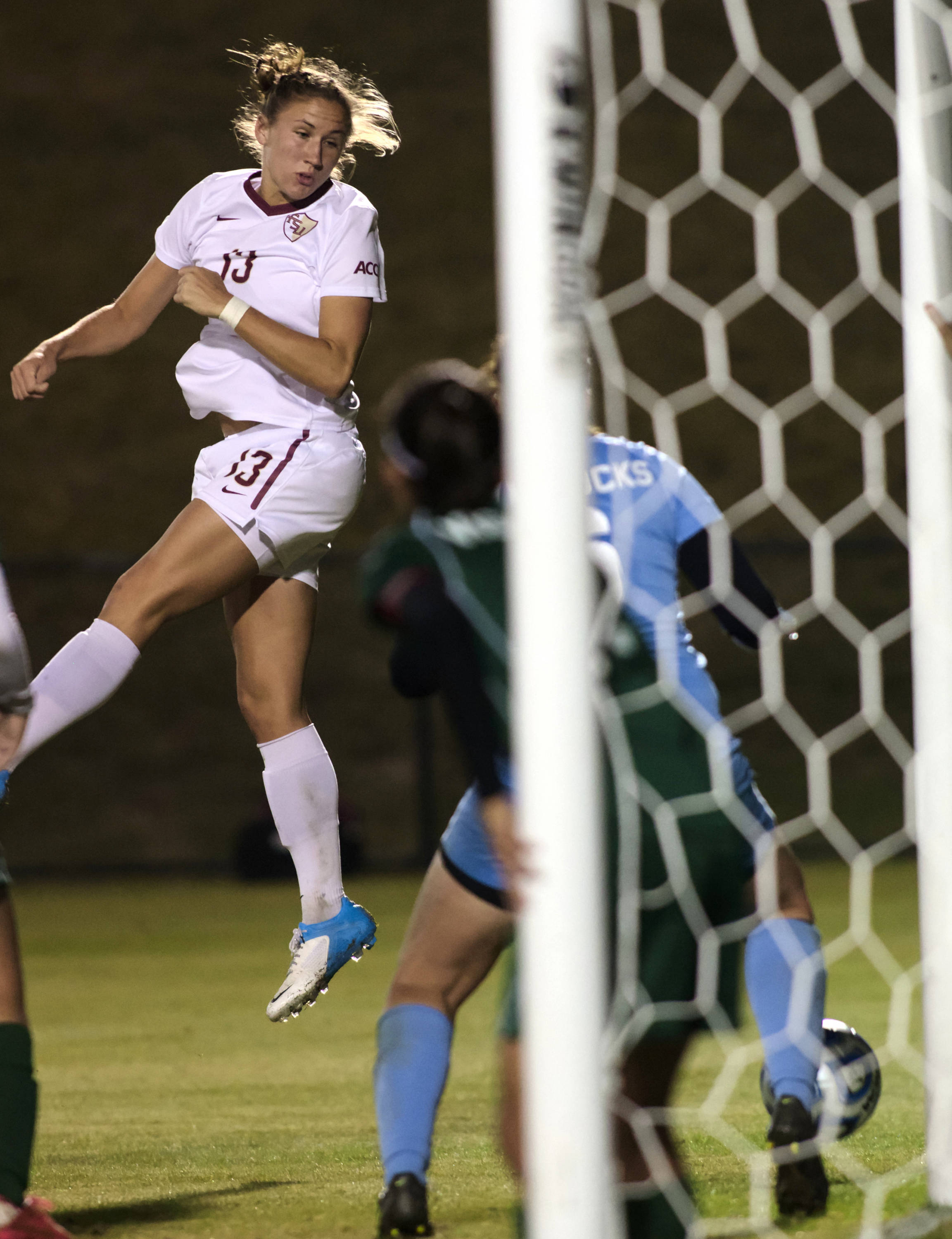 Kristin Grubka (13), FSU vs MVSU, 11/09/12. (Photo by Steve Musco)